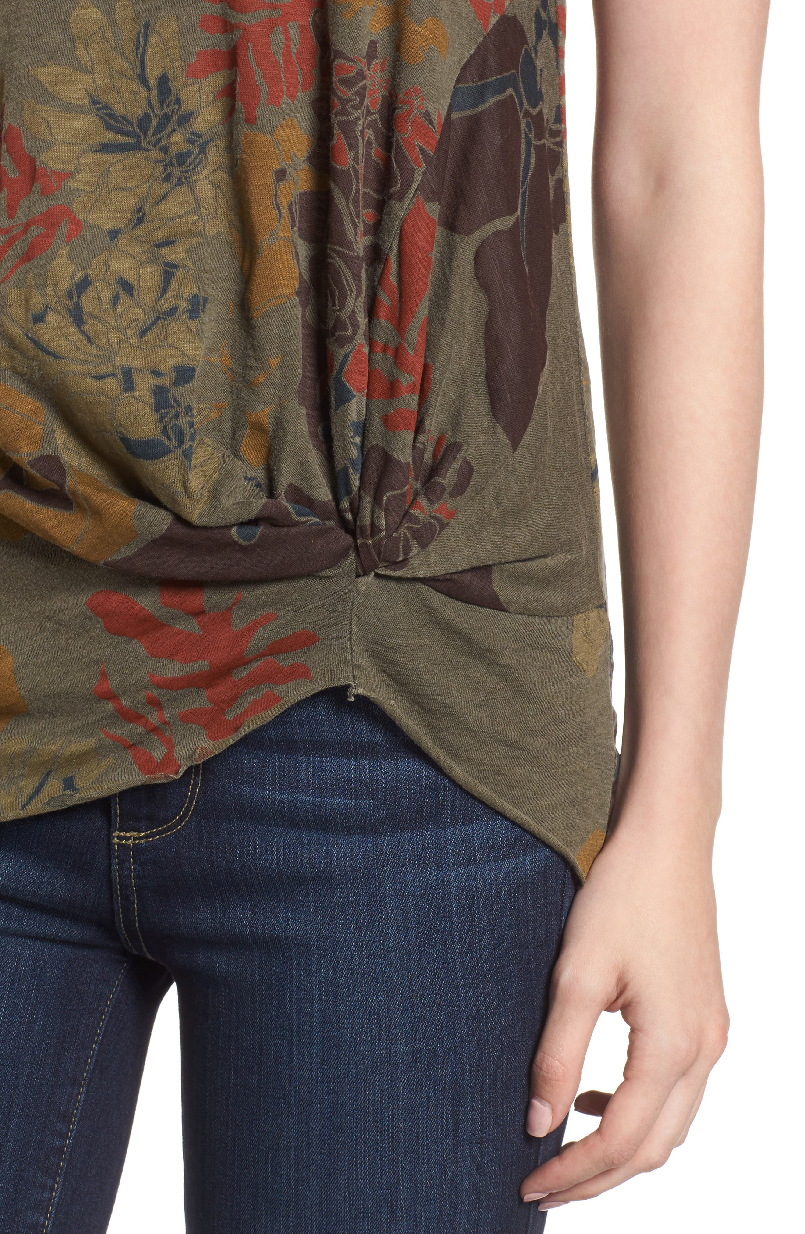 Floral Twist Front Tee,                             Alternate thumbnail 4, color,                             Fern