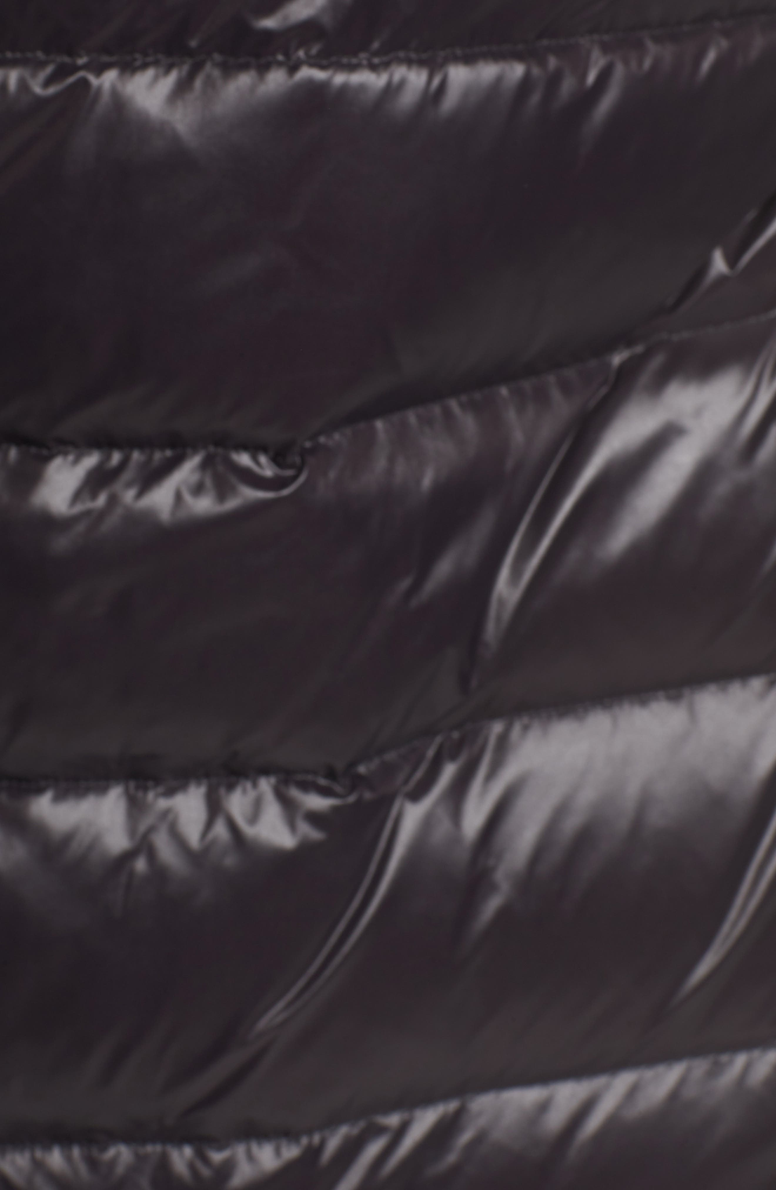 Genuine Fox Fur Trim Down Coat,                             Alternate thumbnail 5, color,                             Black