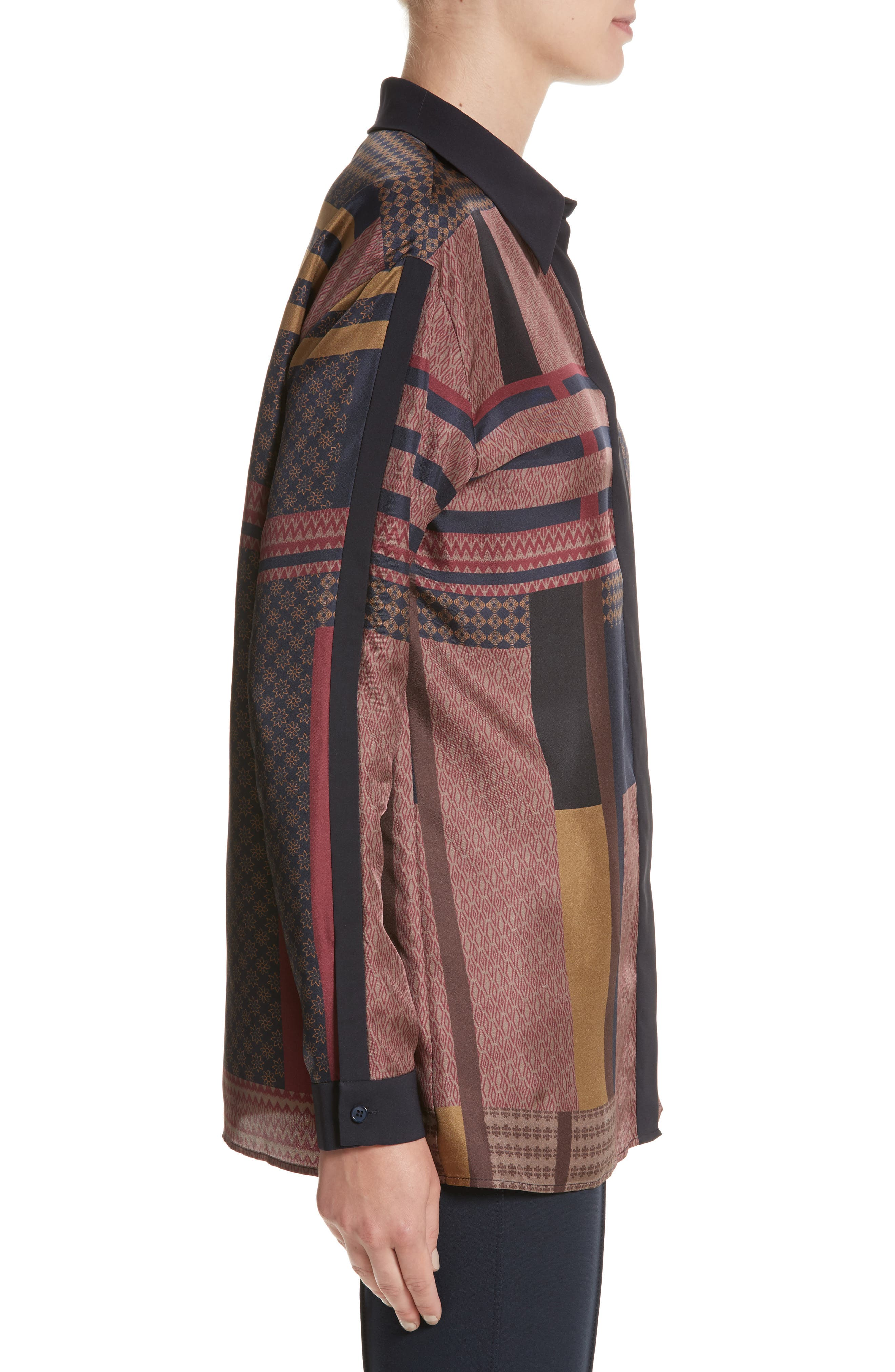 Alternate Image 3  - Lafayette 148 New York Sabel Patchwork Silk Blouse