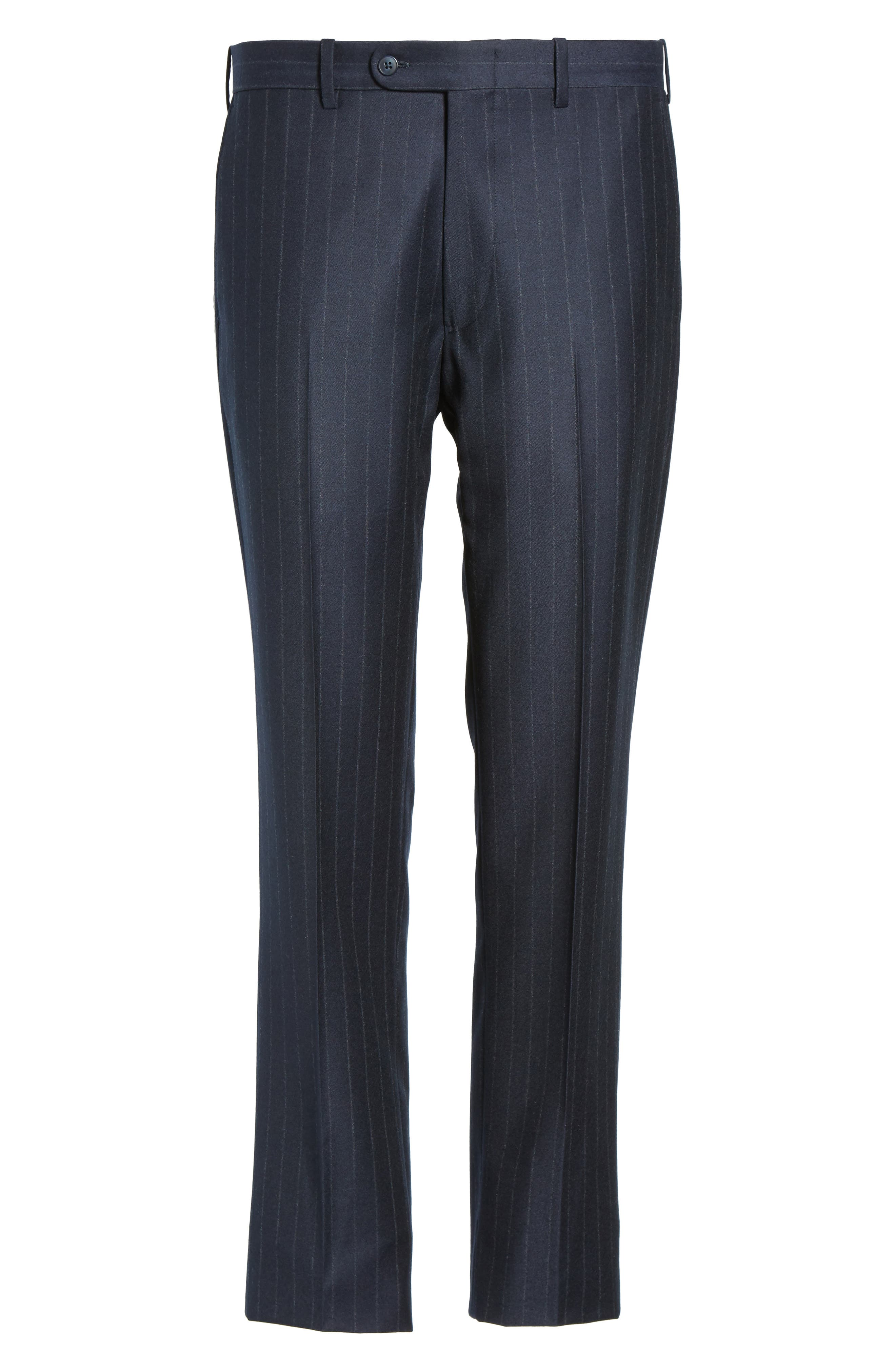 Flat Front Chalk Stripe Wool Trousers,                             Alternate thumbnail 6, color,                             Navy