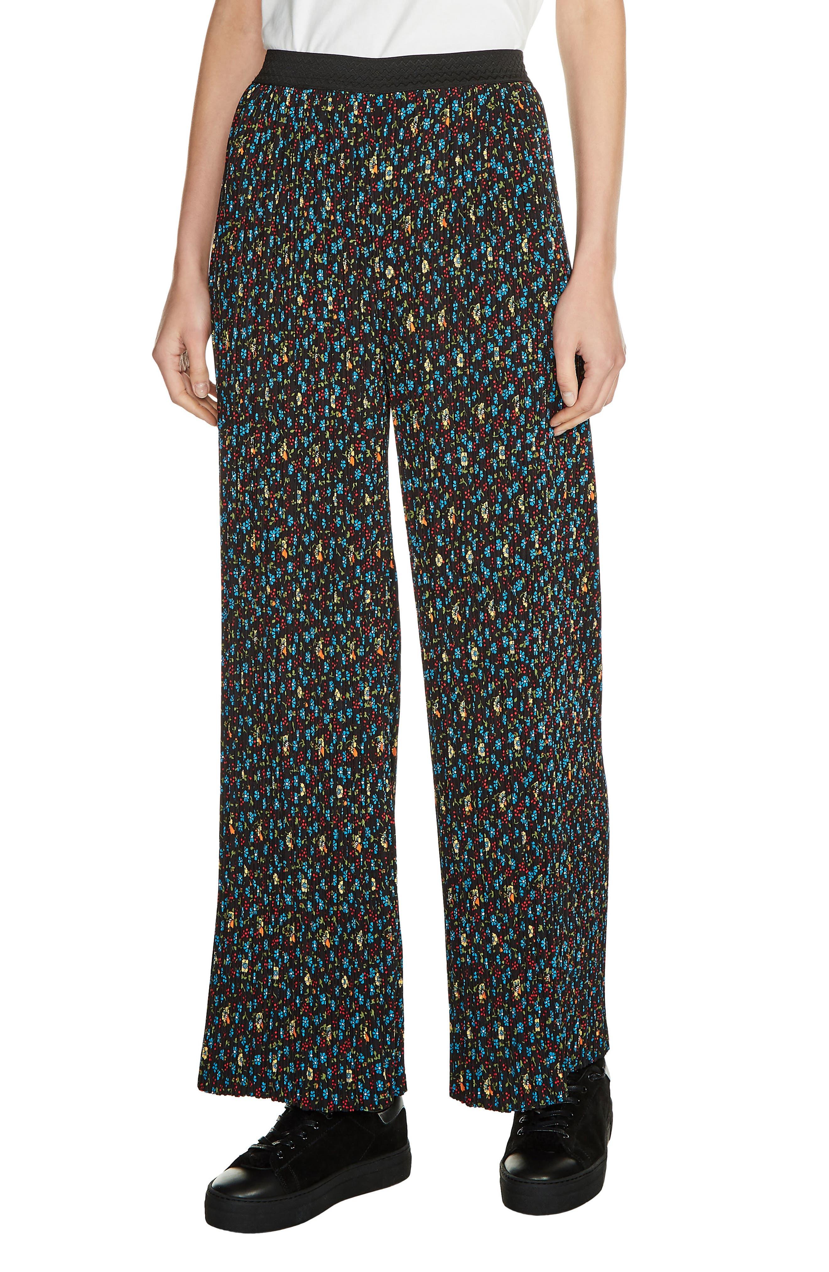 maje Floral Print Pleat Pants