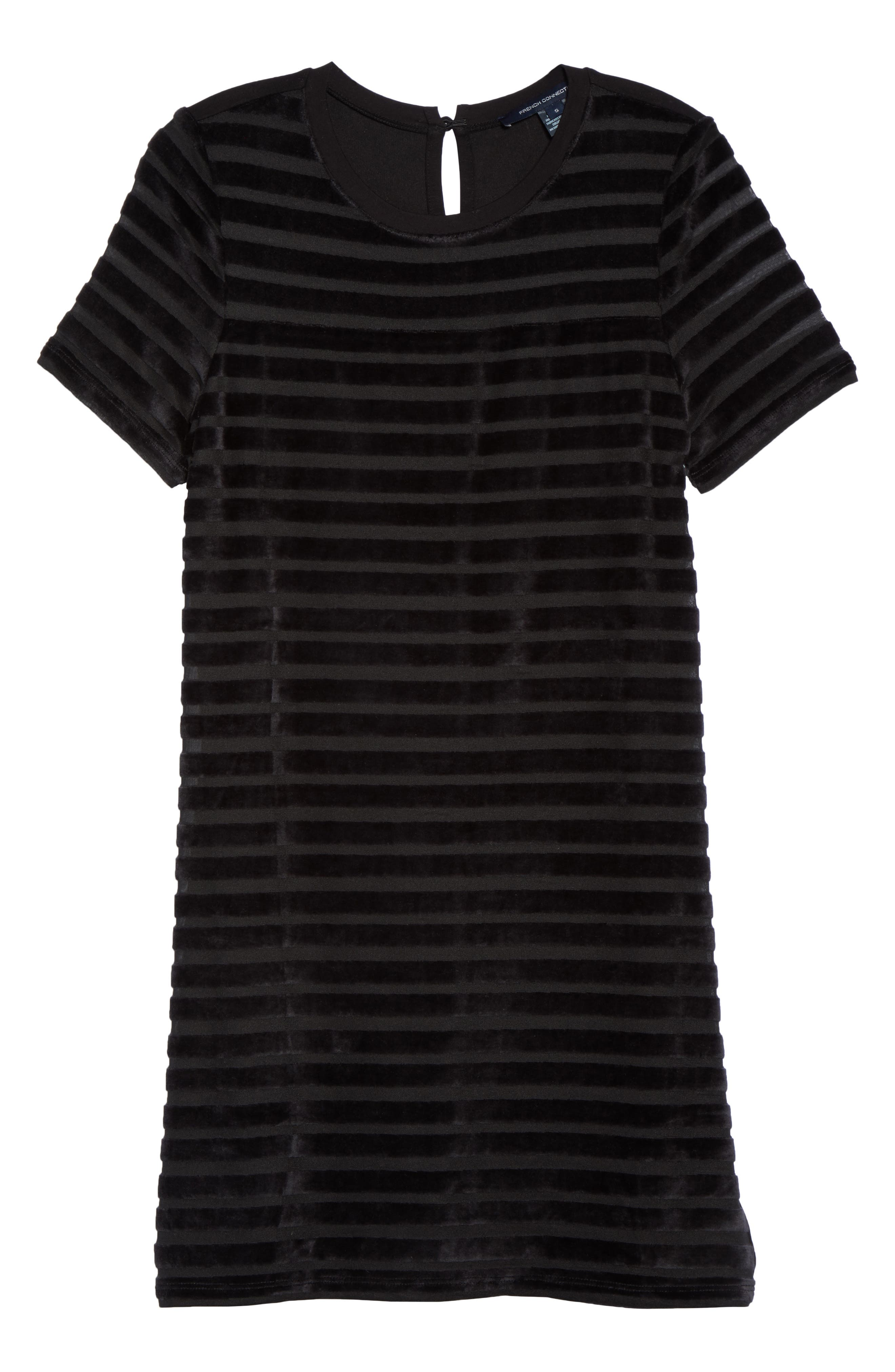 Velvet Stripe Shift Dress,                             Alternate thumbnail 6, color,                             Black