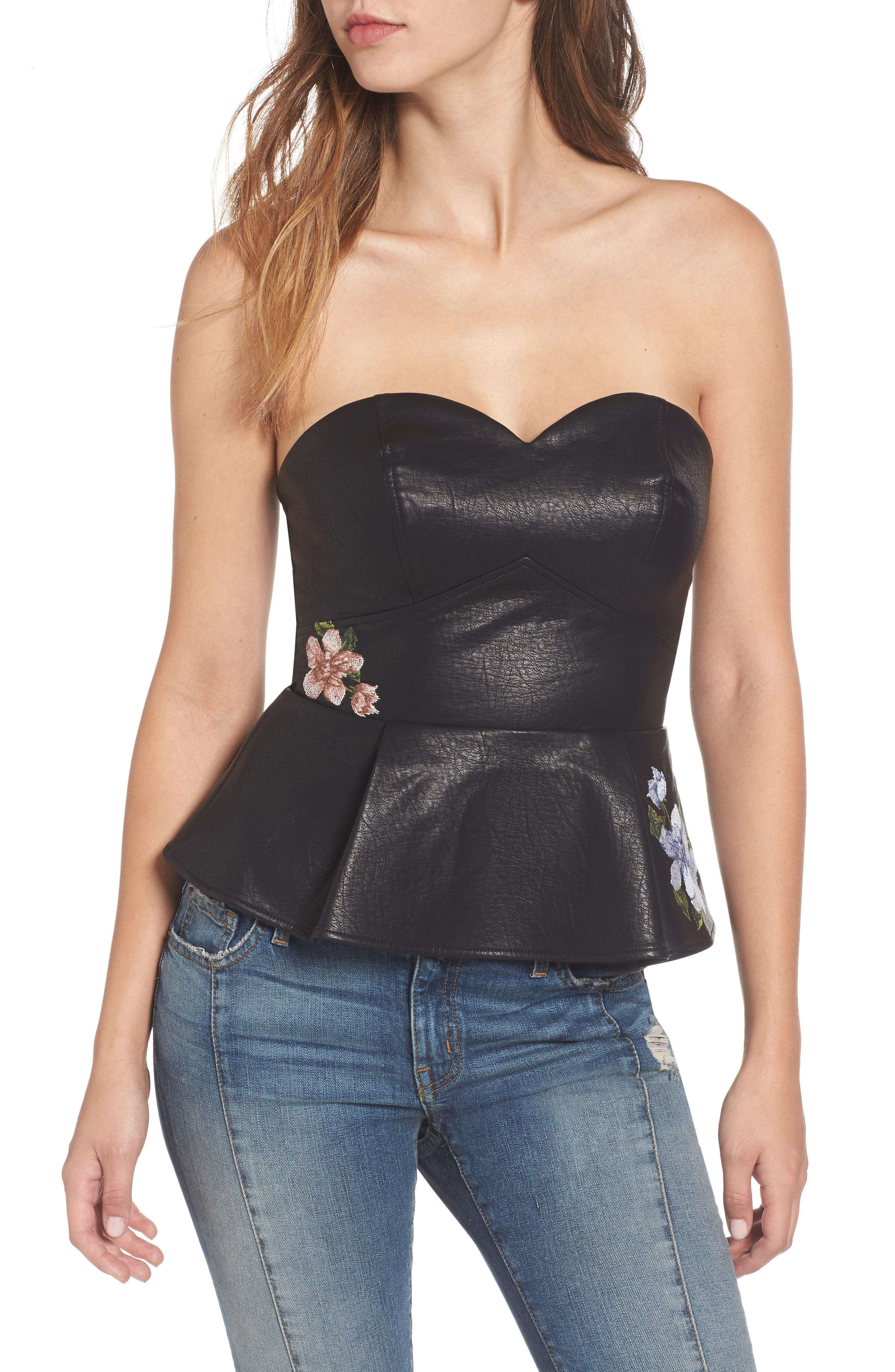 J.O.A. Faux Leather Bustier