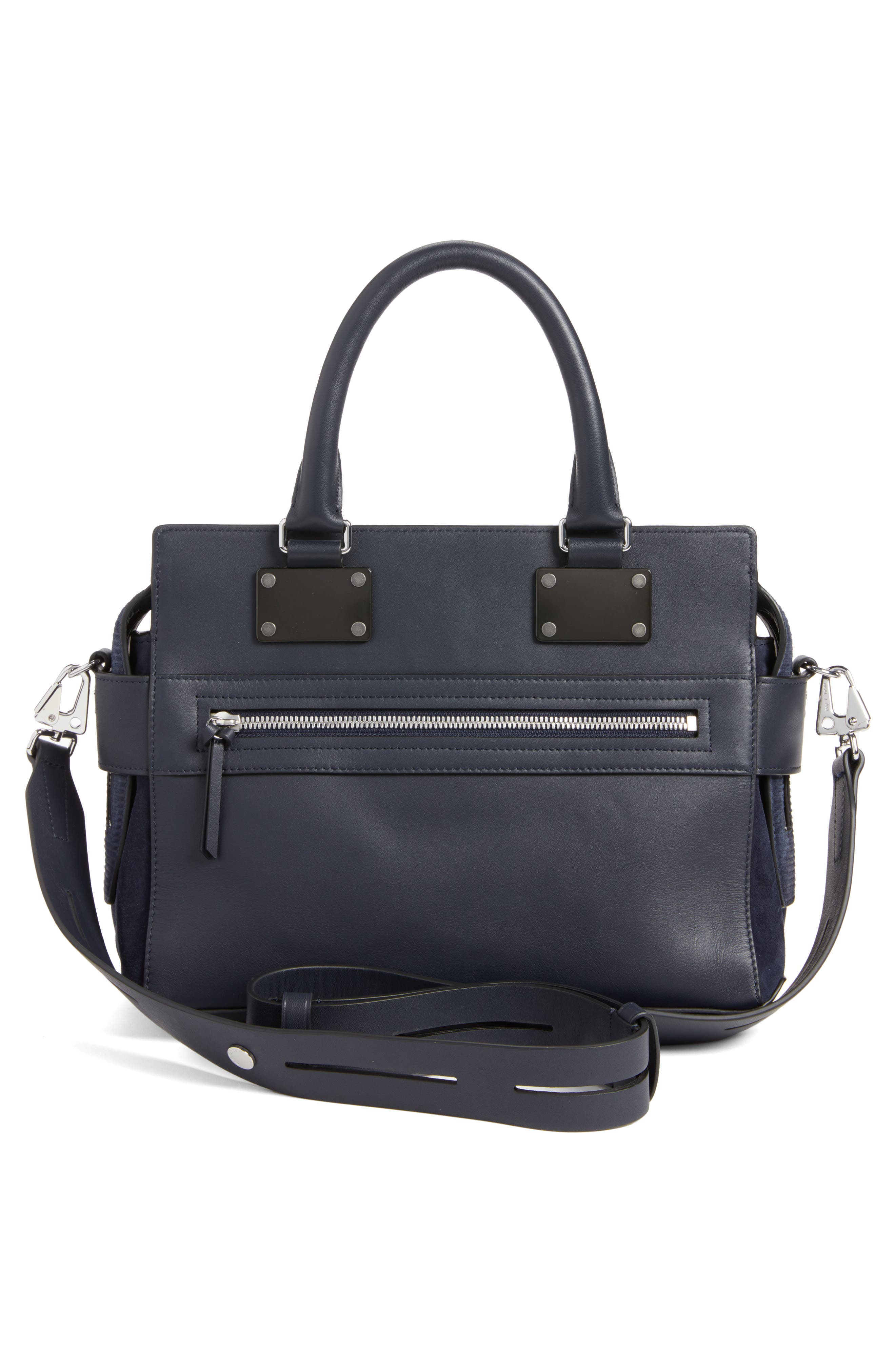 Pilot Calfskin Leather Satchel,                             Alternate thumbnail 2, color,                             Navy Suede
