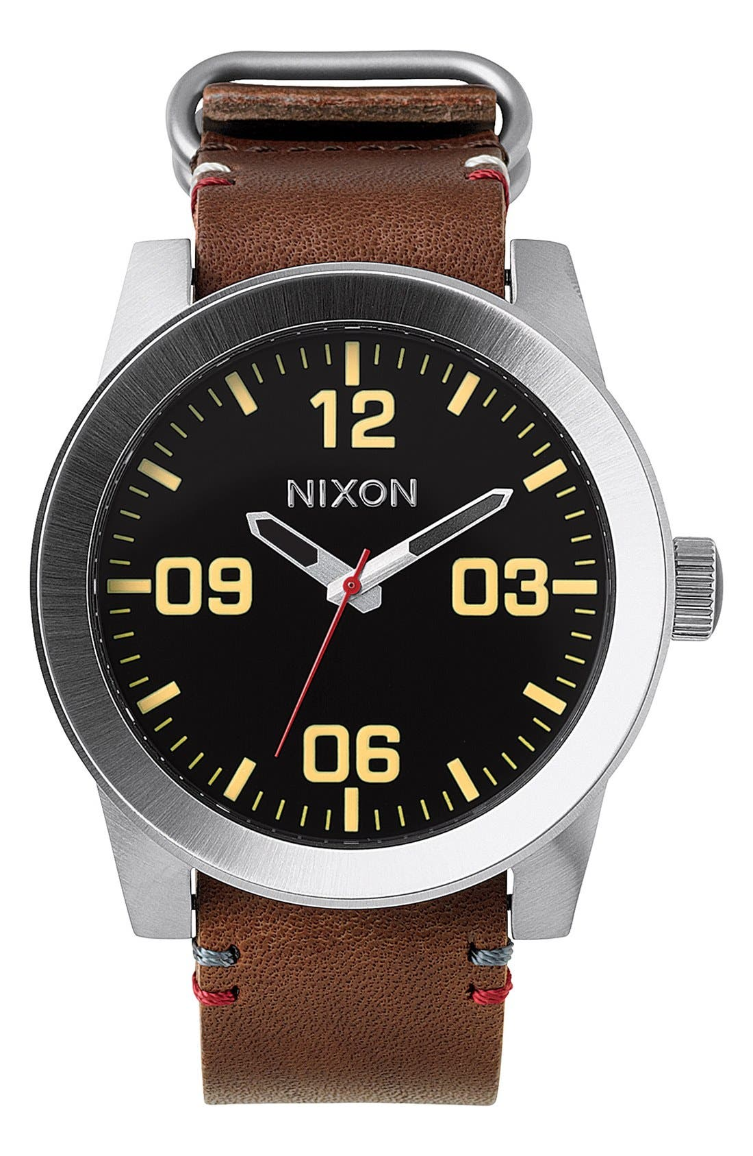 'The Corporal' Watch, 48mm,                         Main,                         color, Brown/ Black