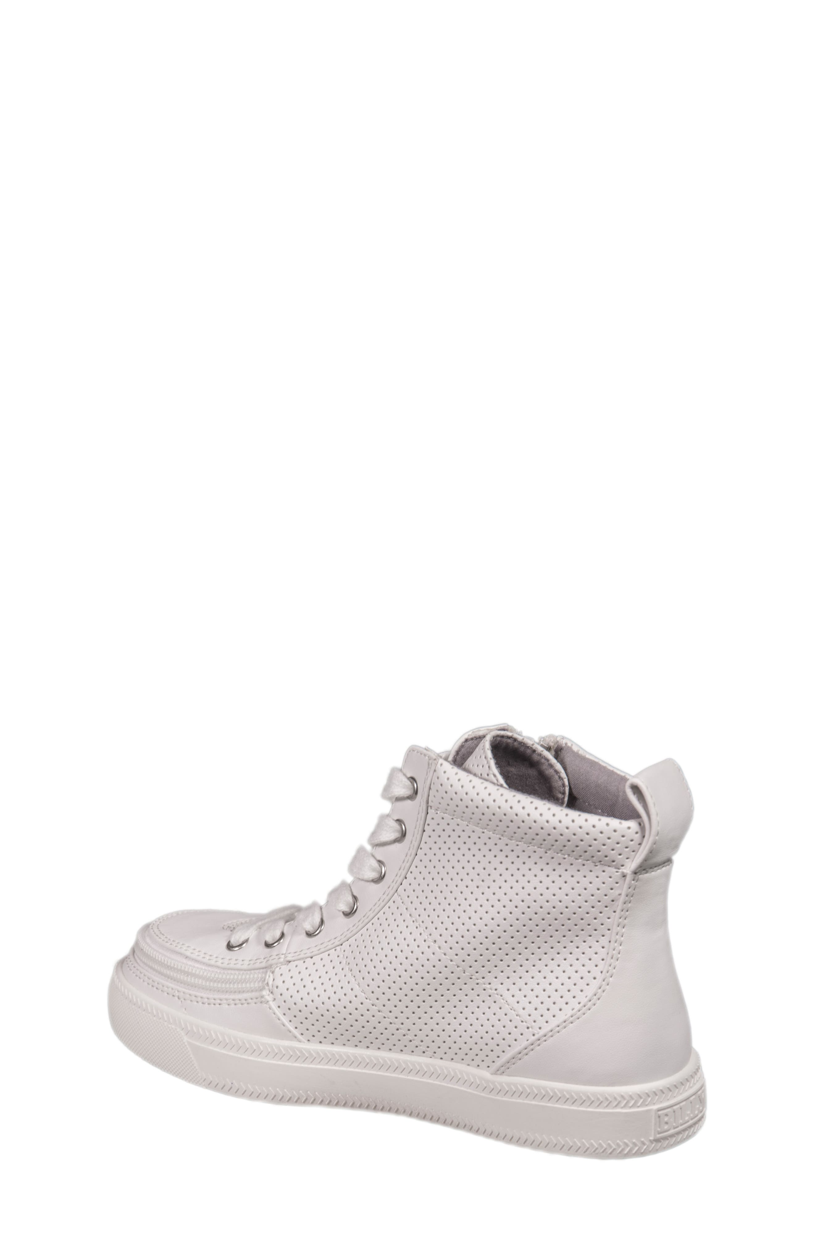 Zip Around Perforated High Top Sneaker,                             Alternate thumbnail 2, color,                             White Perforated