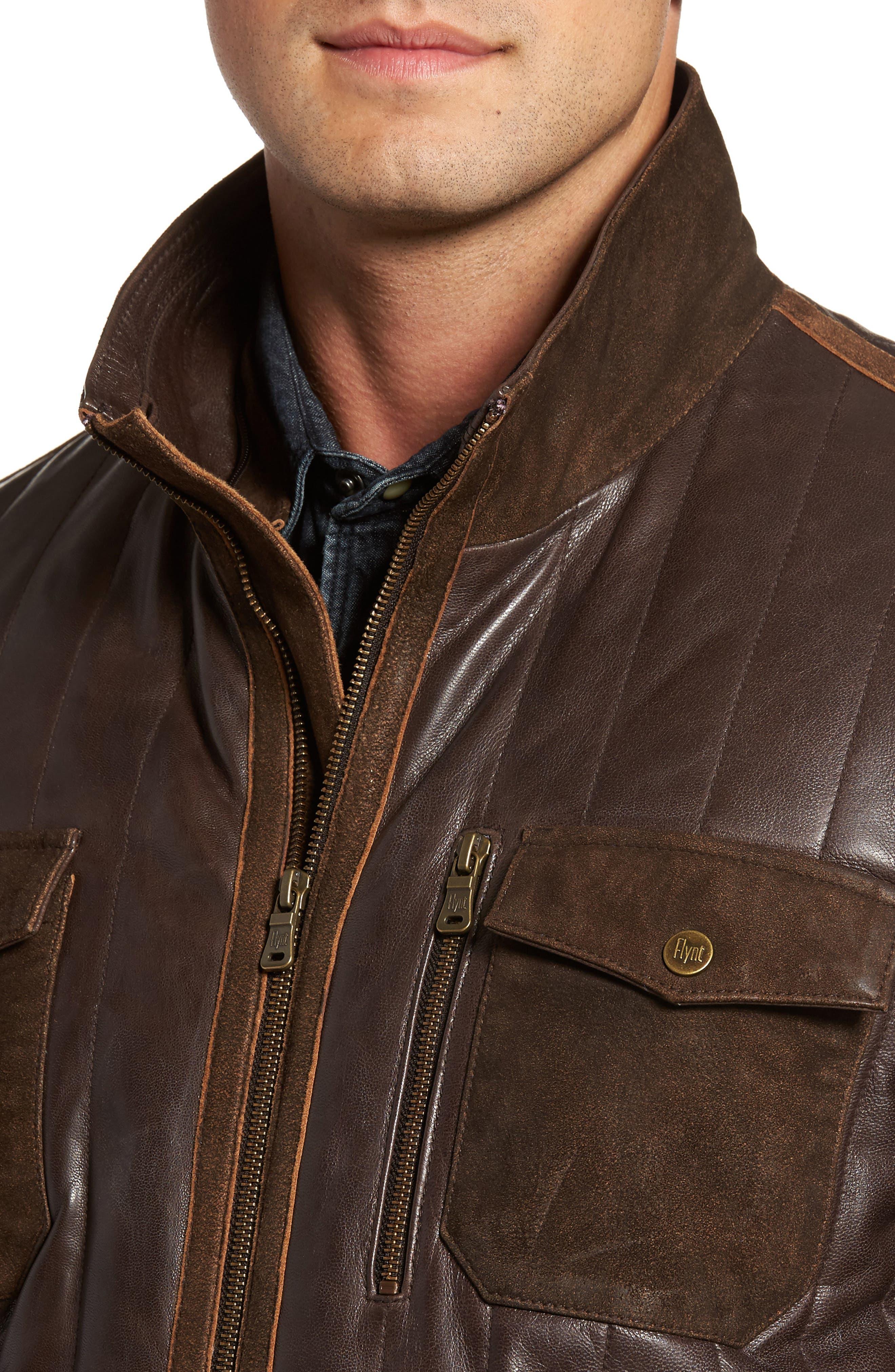 Alternate Image 4  - FLYNT Genuine Shearling Trim Leather Bomber Jacket