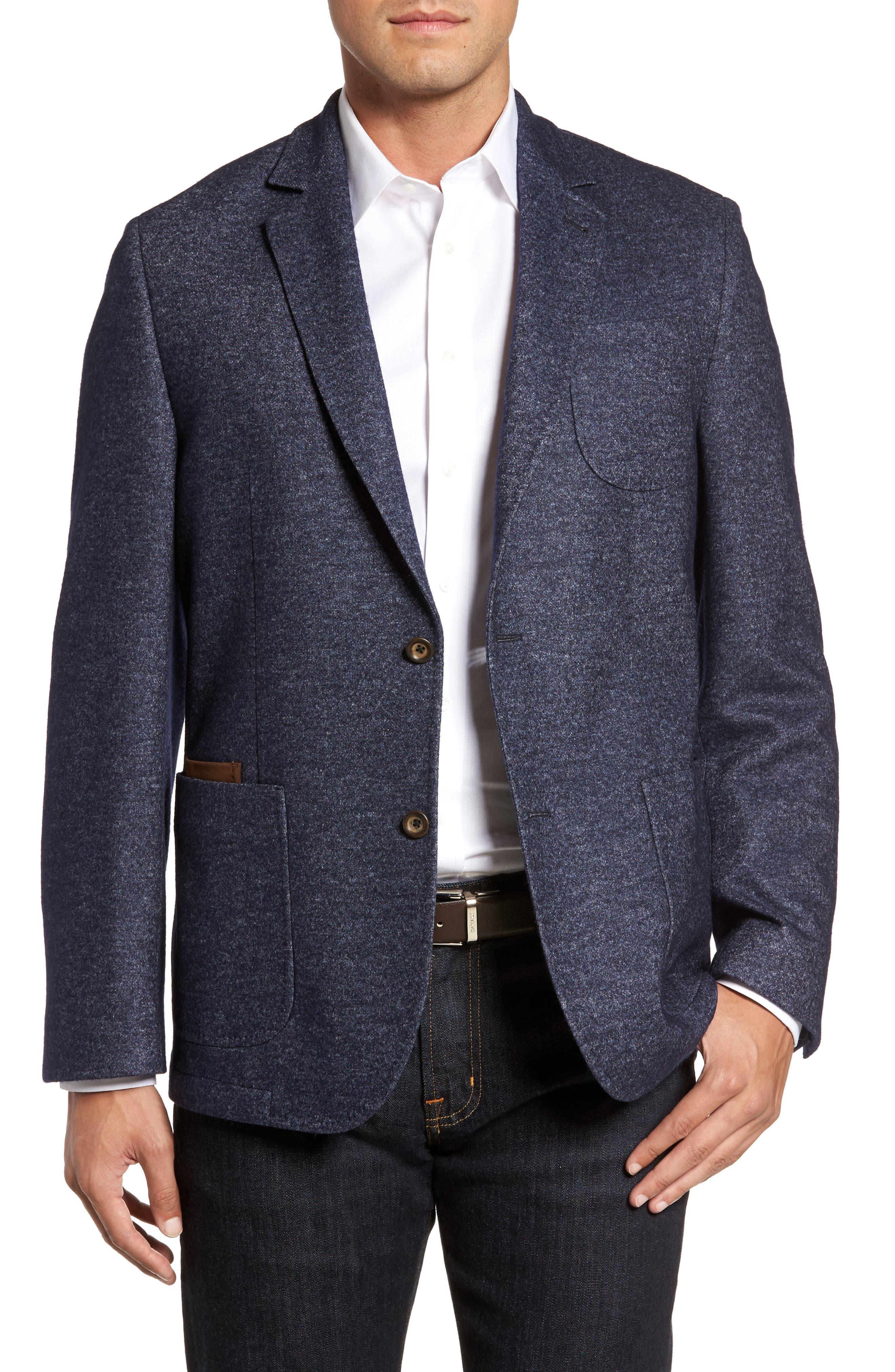 Classic Fit Suede Trim Jersey Sport Coat,                         Main,                         color, Navy