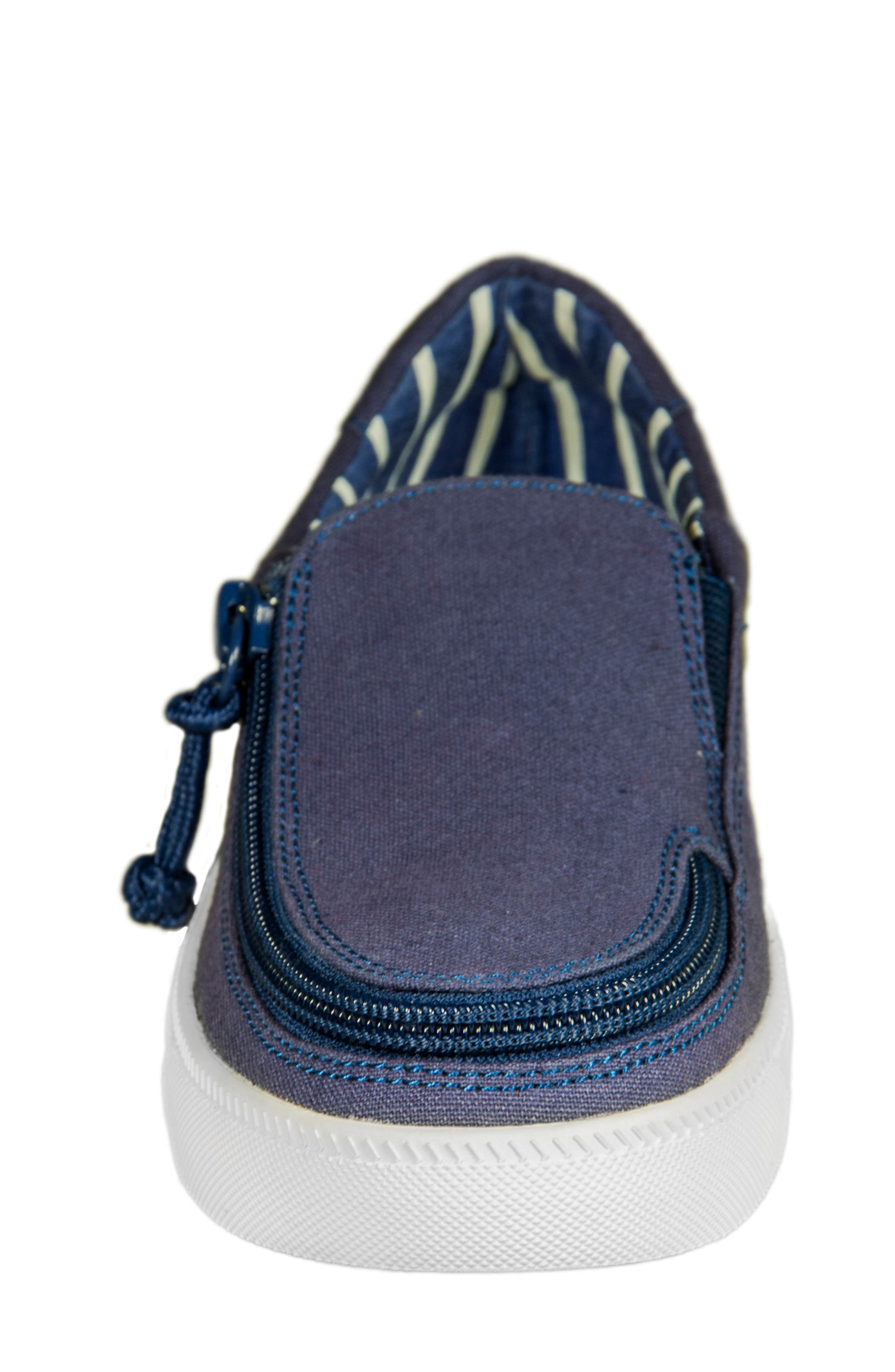 Zip Around Low Top Sneaker,                             Alternate thumbnail 3, color,                             Navy Canvas