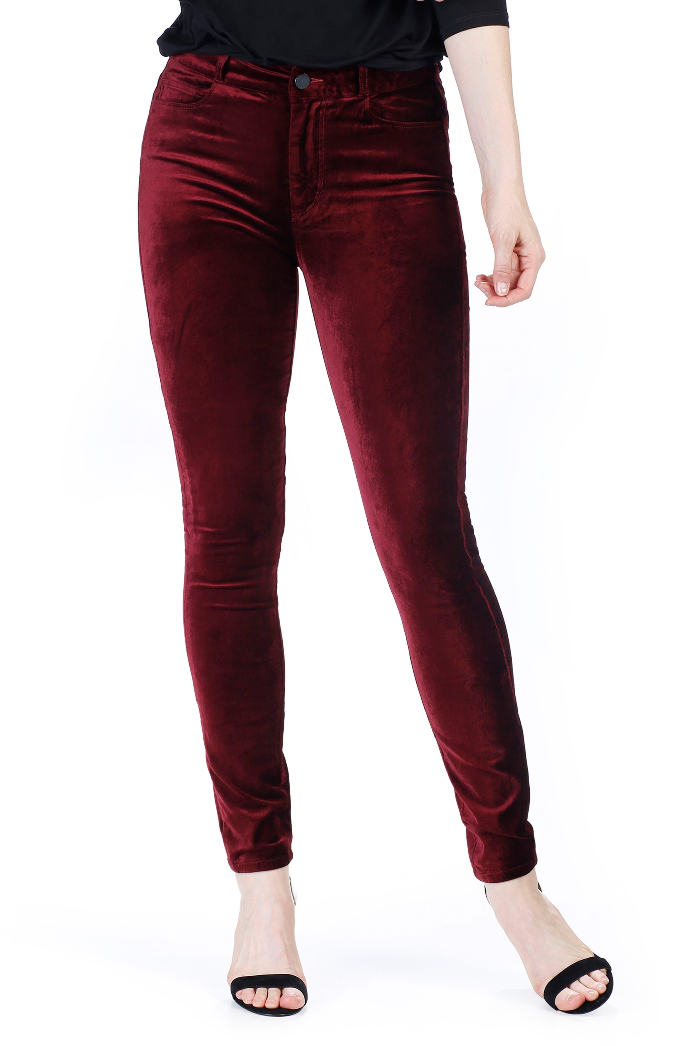 Alternate Image 3  - PAIGE Hoxton Velvet Skinny Jeans (Dark Magenta)