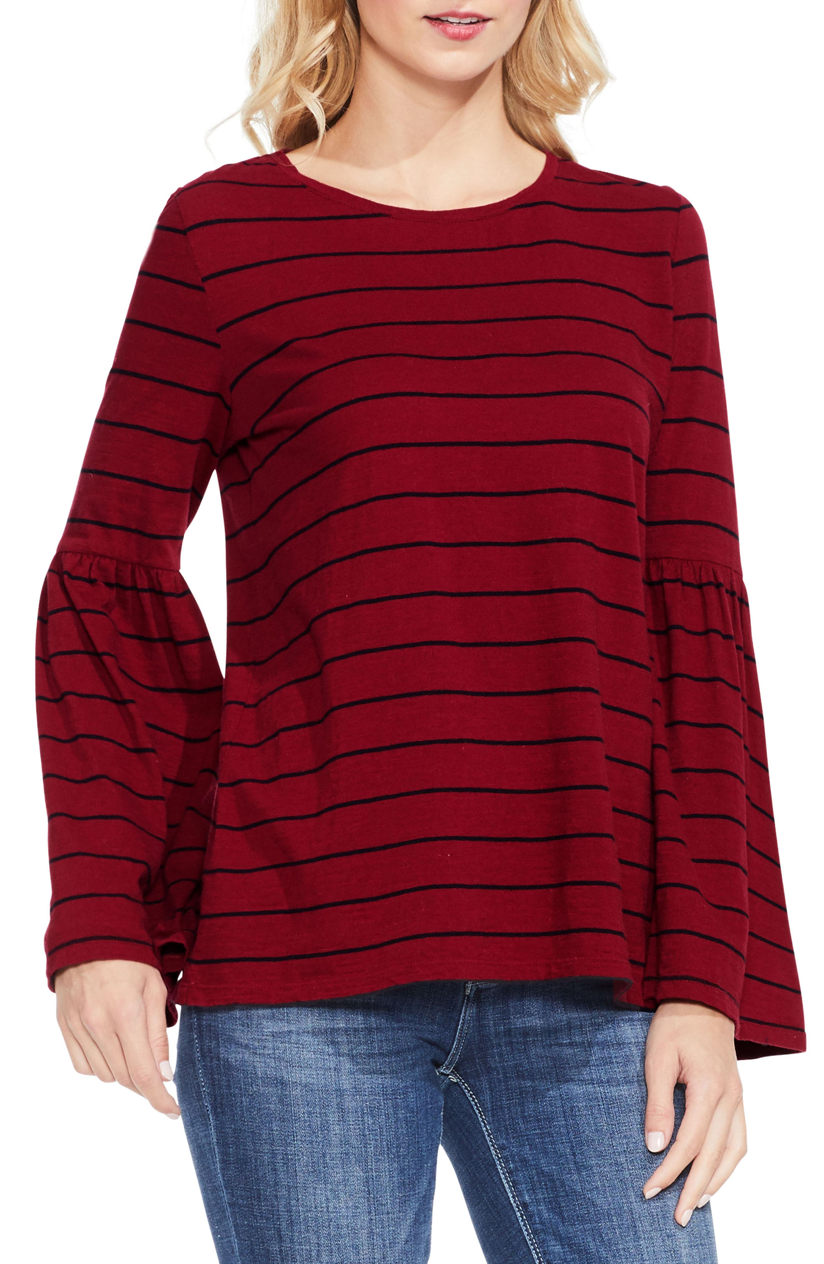 Bell Sleeve Stripe Top,                         Main,                         color, Russet Red