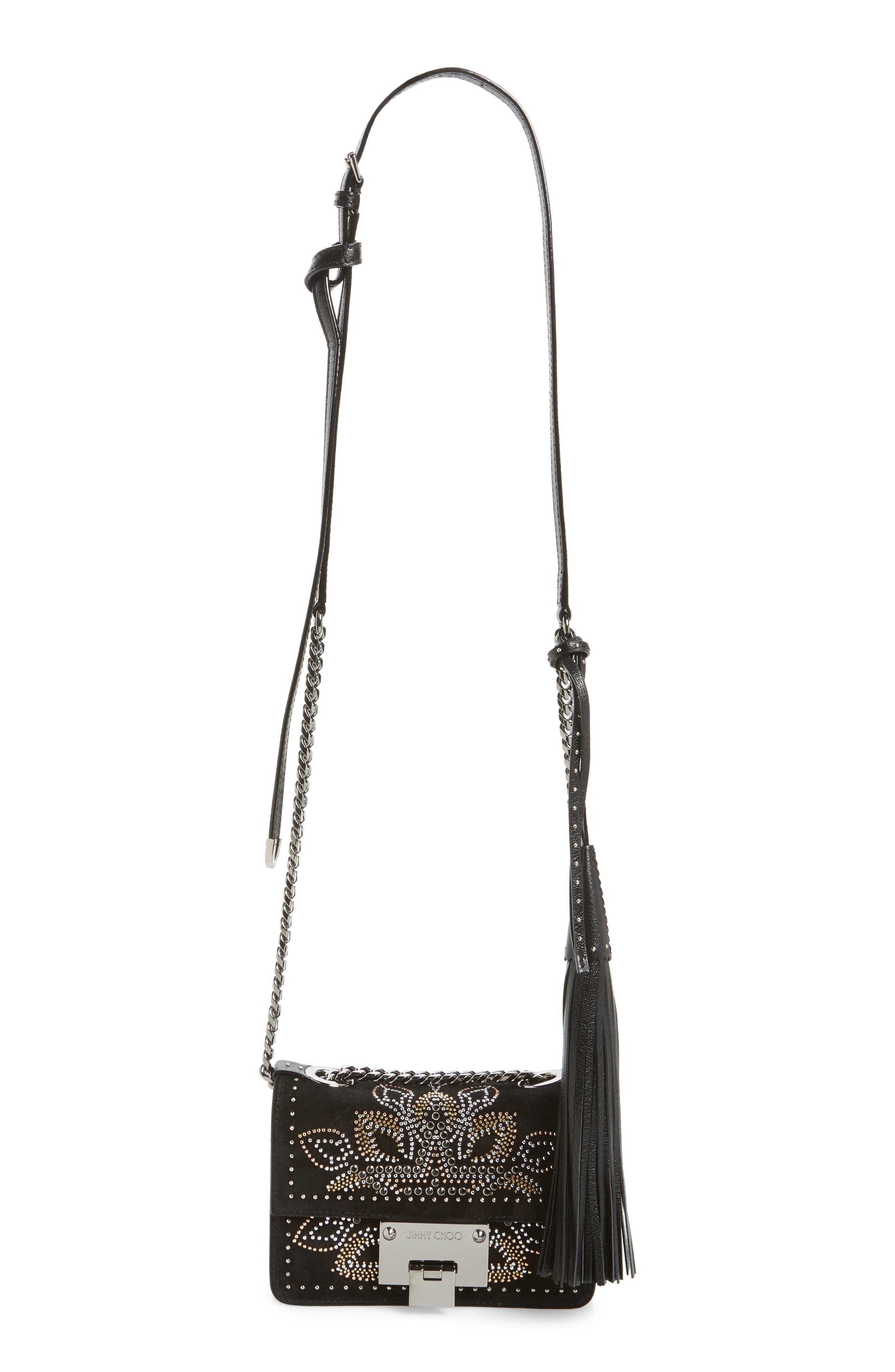 Mini Rebel Studded Suede Crossbody Bag,                             Main thumbnail 1, color,                             Black Mix