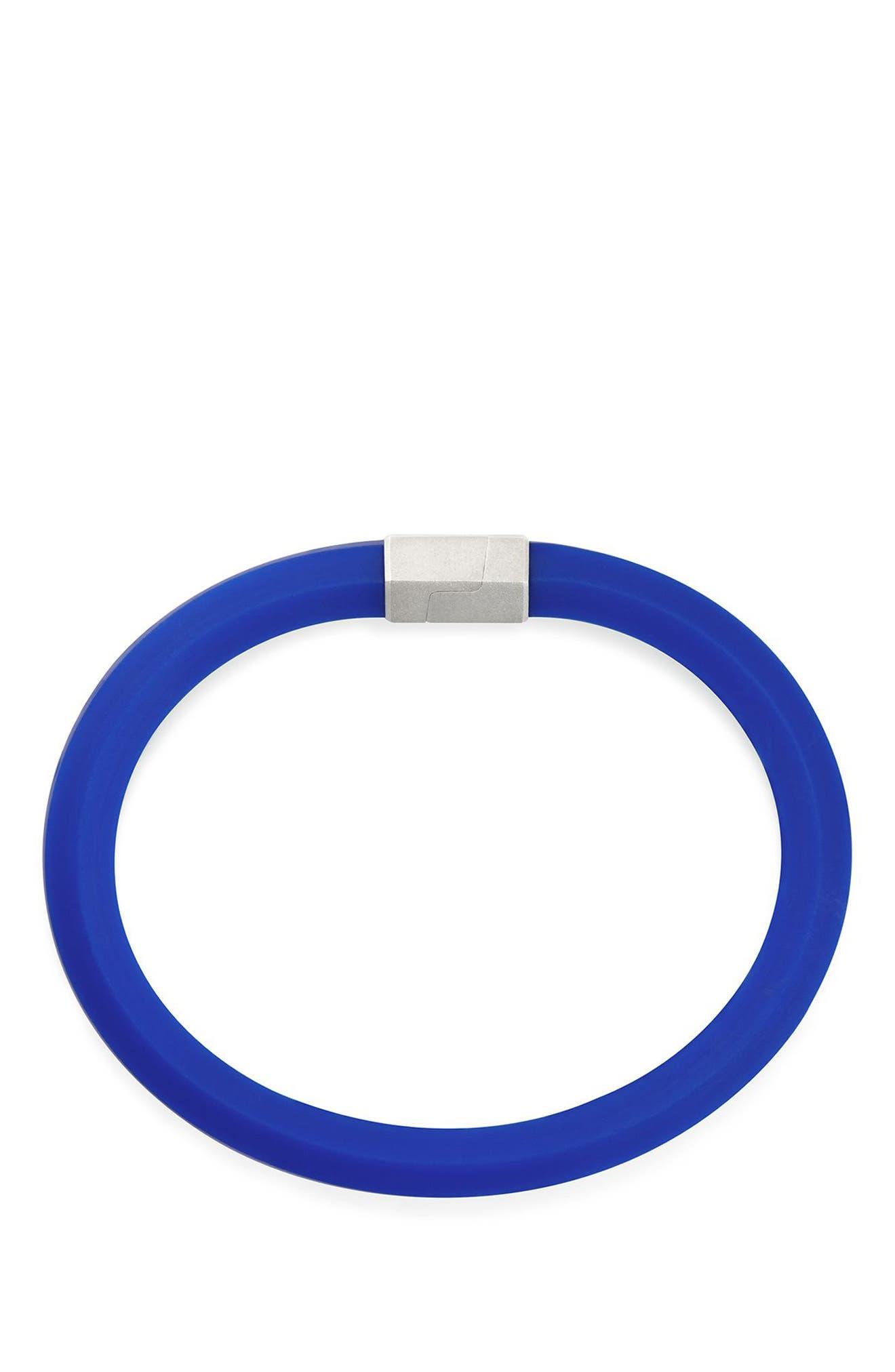 Streamline Rubber ID Bracelet in Black,                             Alternate thumbnail 2, color,                             Blue
