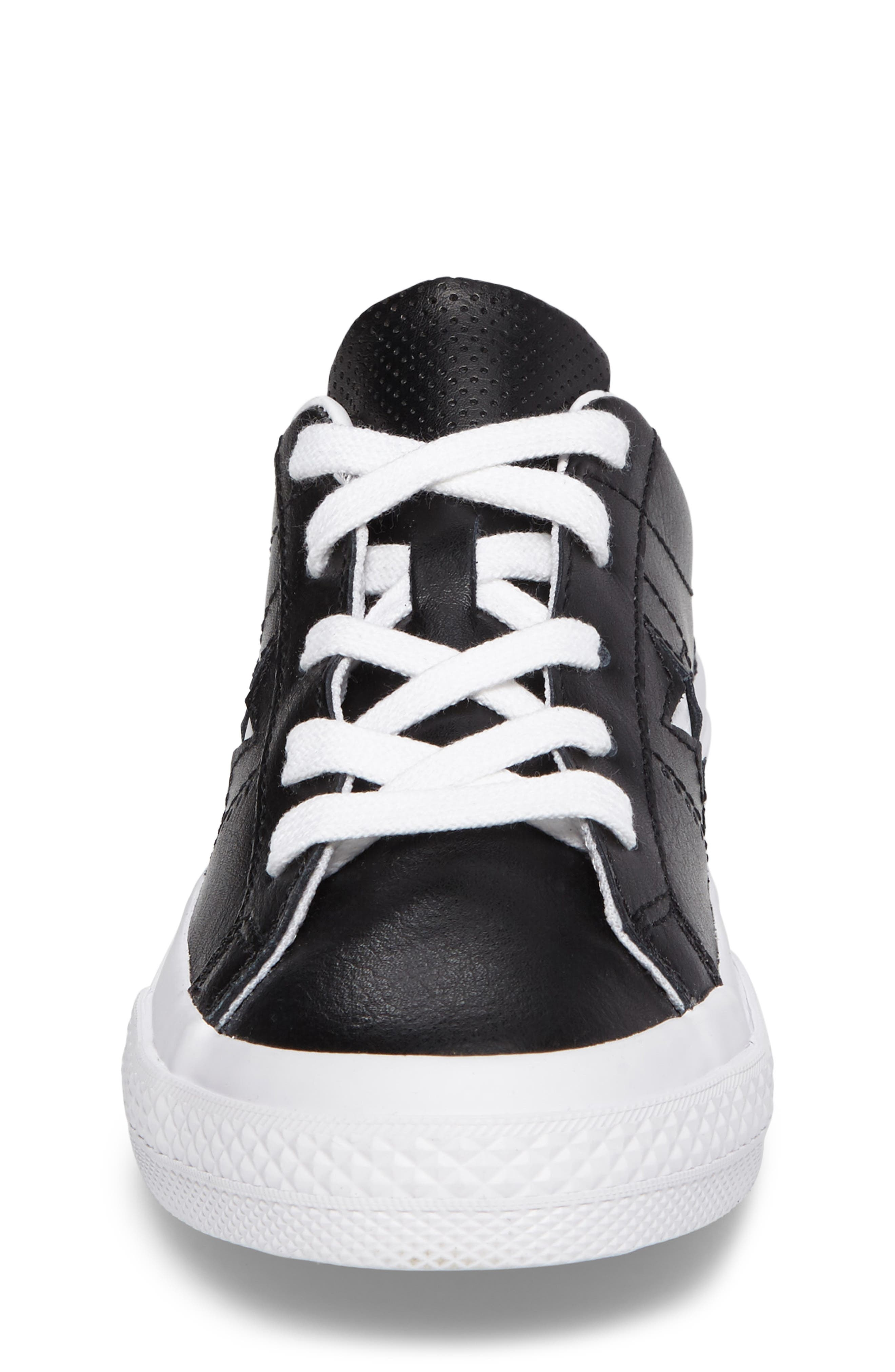 Chuck Taylor<sup>®</sup> All Star<sup>®</sup> One Star Sneaker,                             Alternate thumbnail 4, color,                             Black Leather