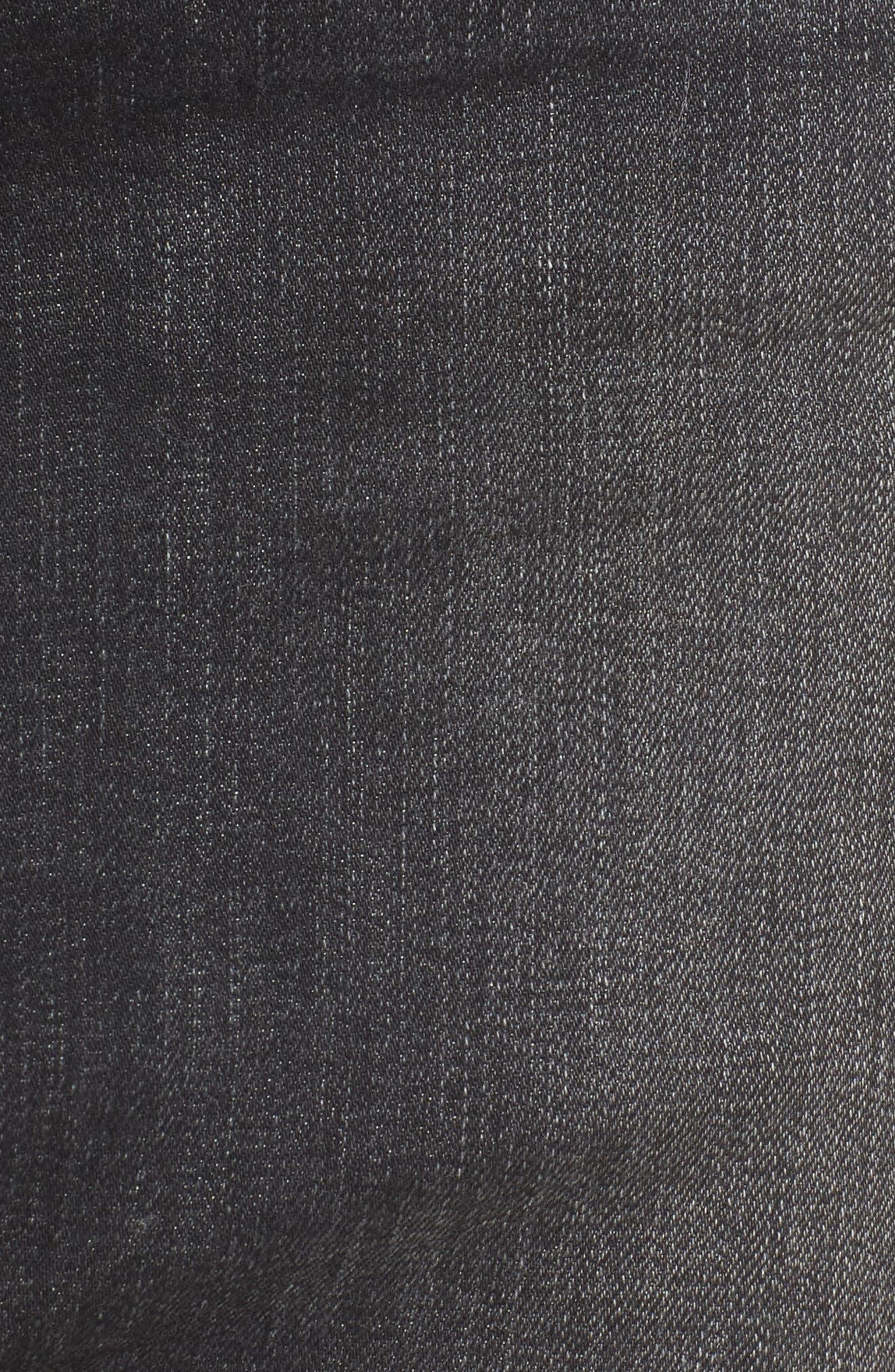 Robbie Cutoff Denim Miniskirt,                             Alternate thumbnail 5, color,                             Black