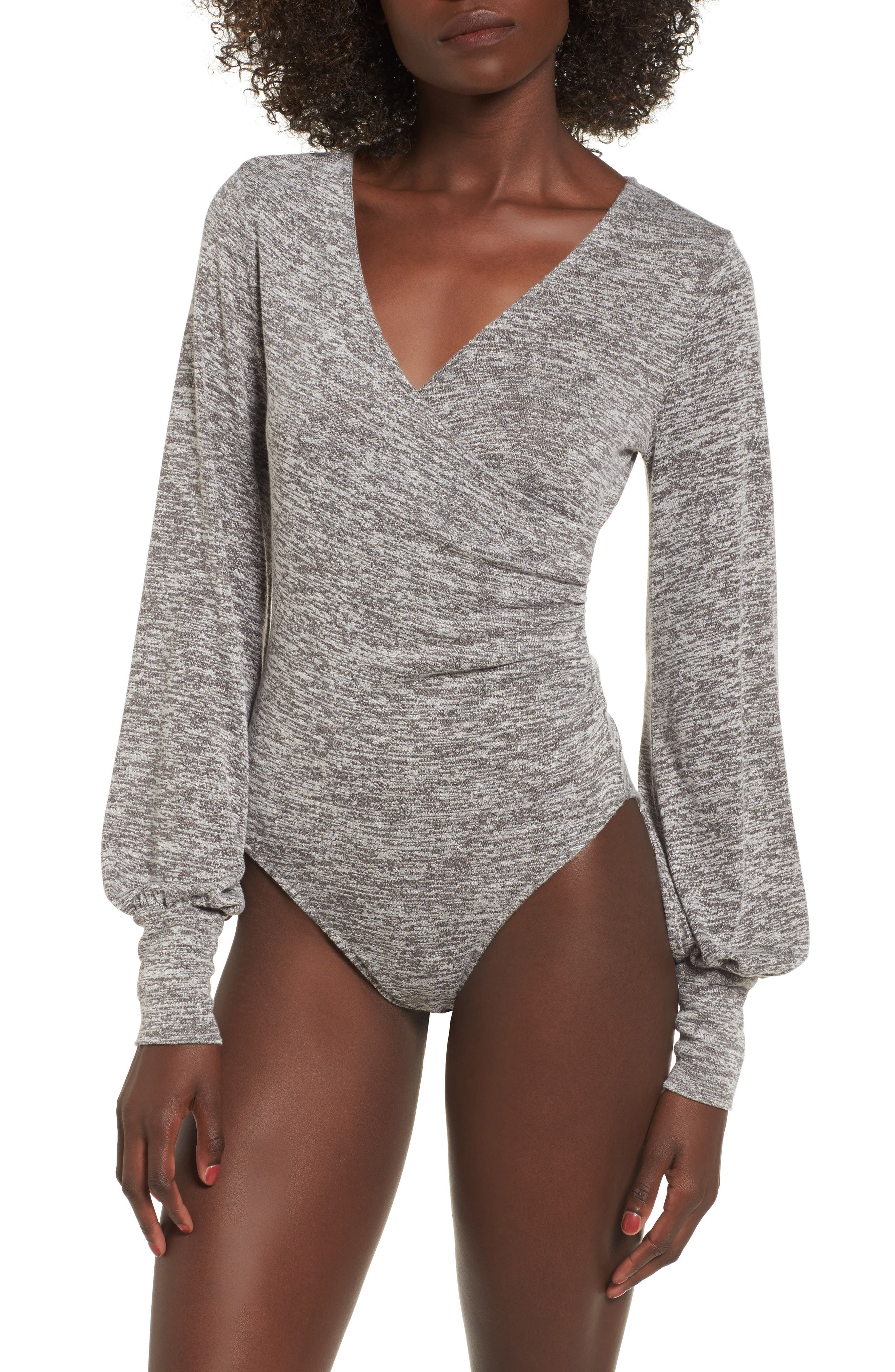 Ruched Bodysuit,                             Alternate thumbnail 4, color,                             Grey Cloudy Heather