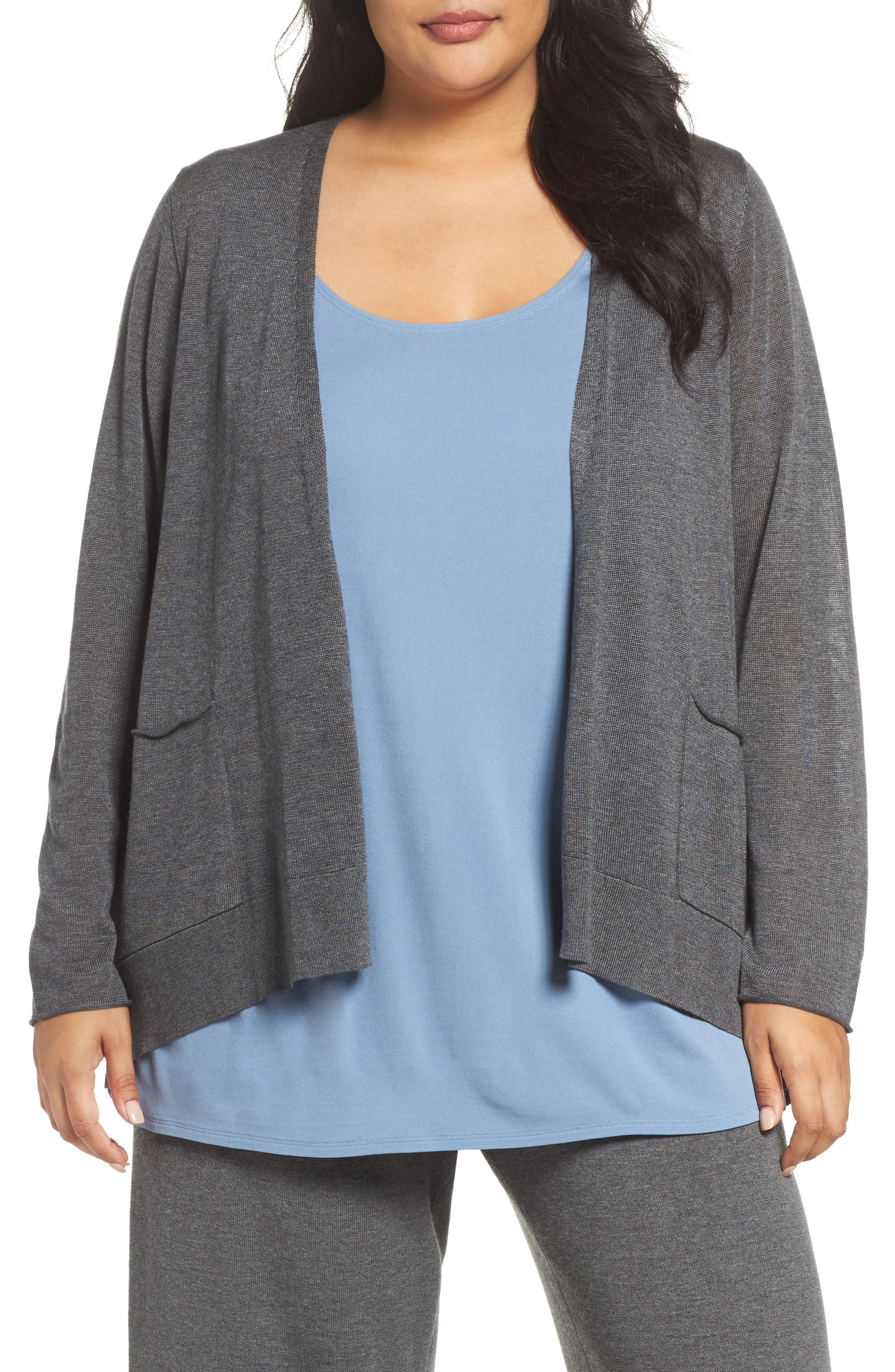 Main Image - Eileen Fisher Slouchy Tencel® Blend Cardigan (Plus Size)