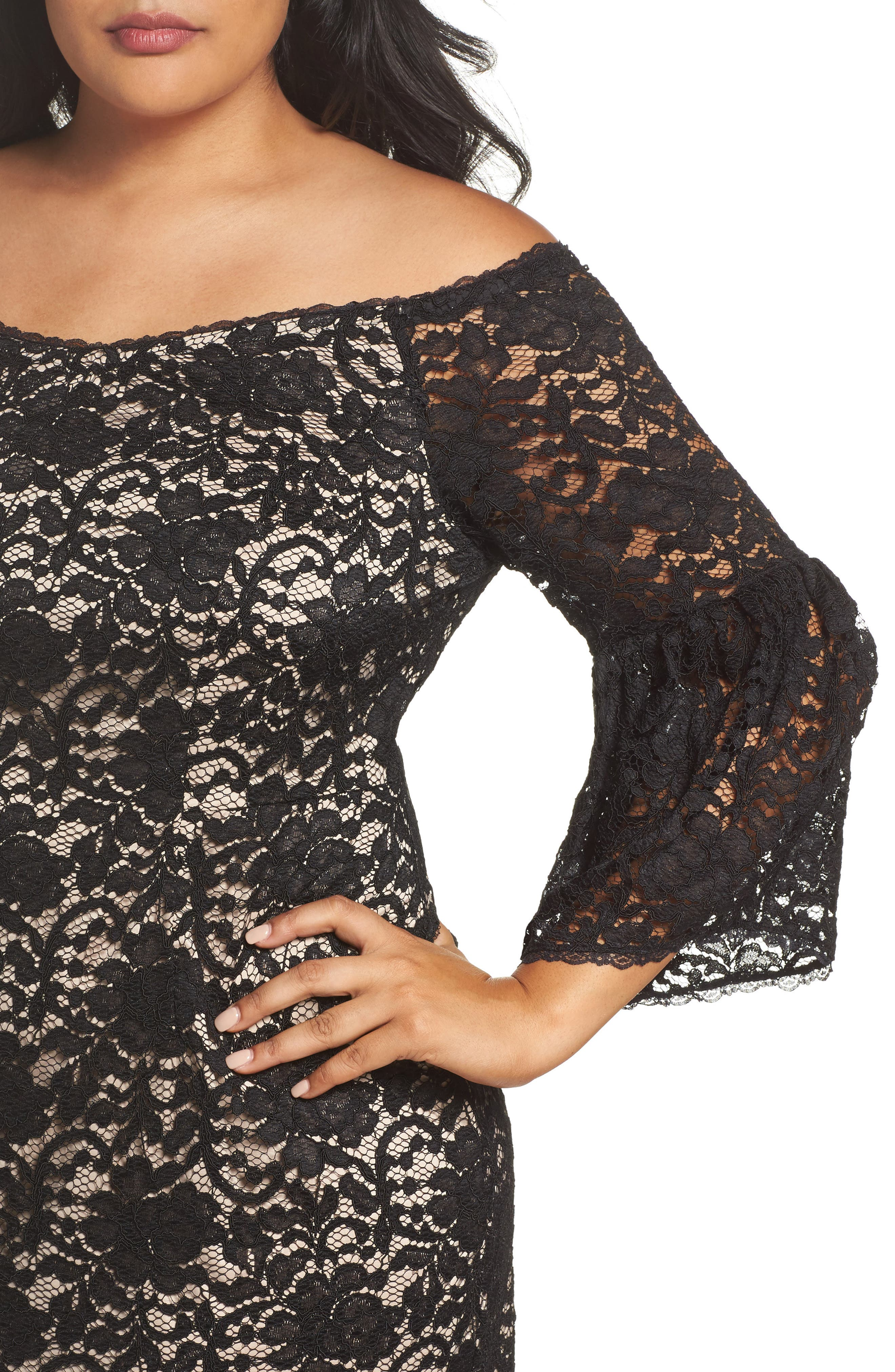 Alternate Image 5  - Adrianna Papell Juliet Off the Shoulder Lace Dress (Plus Size)