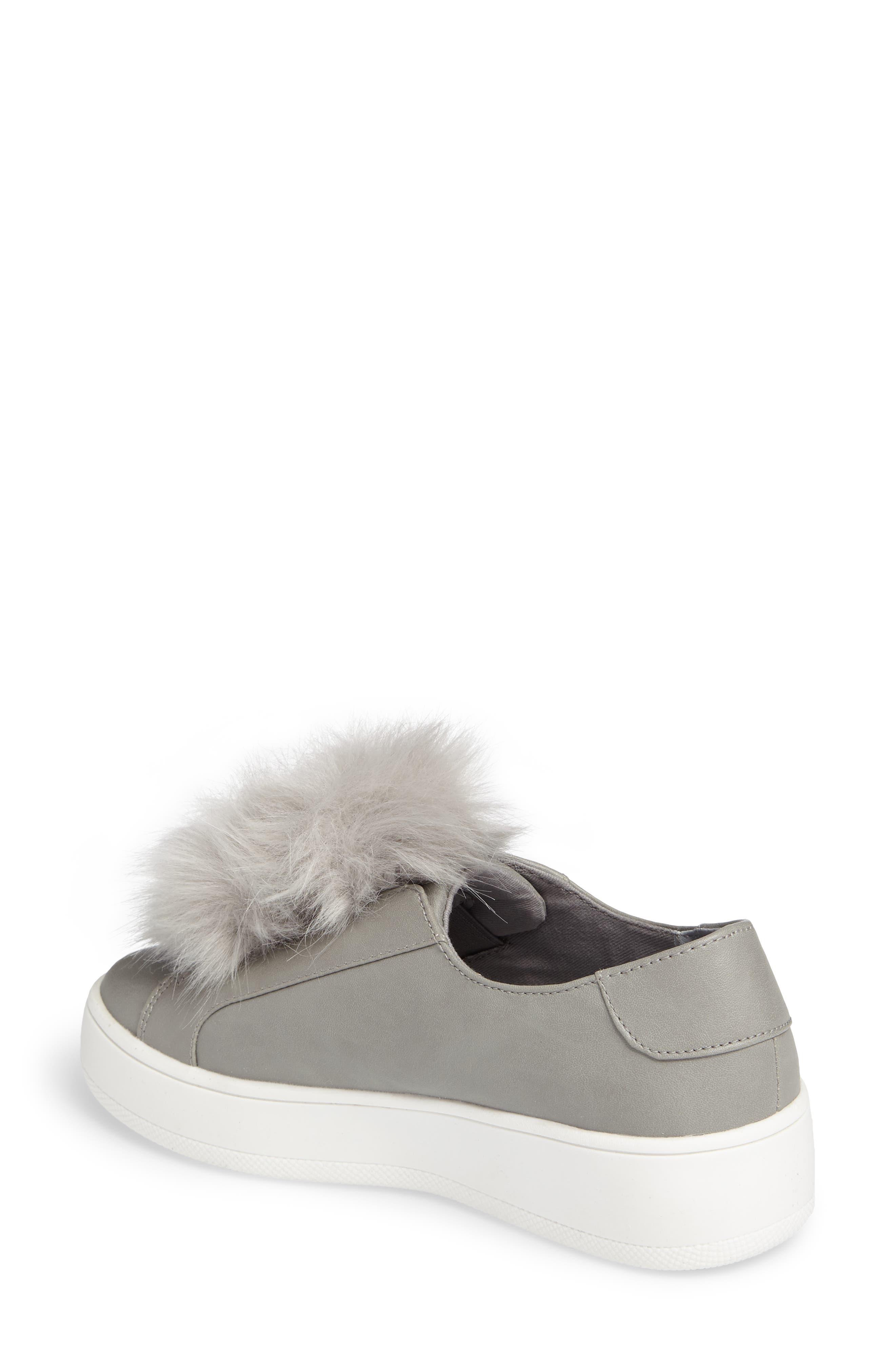 Breeze Faux Fur Pom Sneaker,                             Alternate thumbnail 2, color,                             Grey