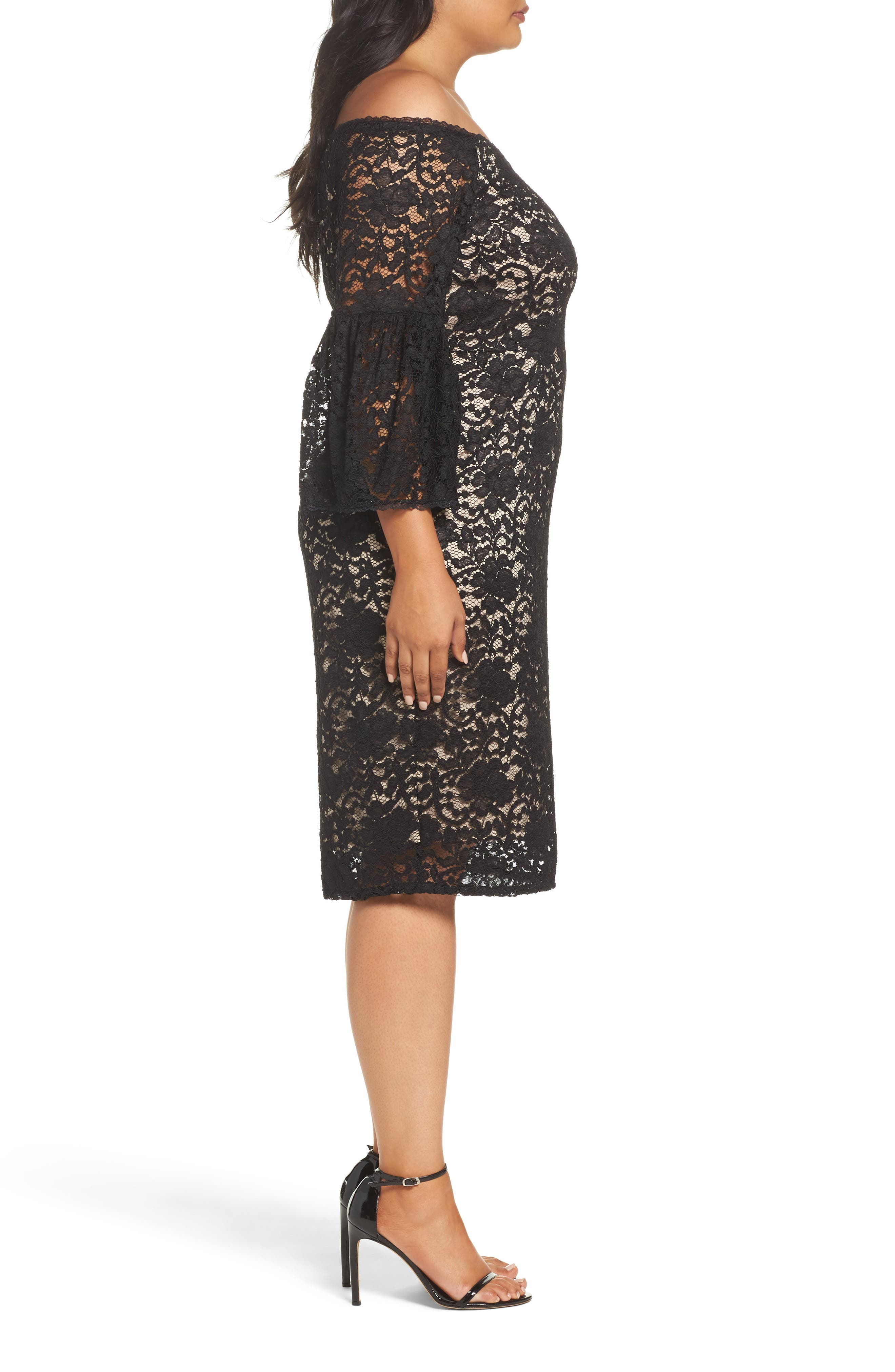 Alternate Image 4  - Adrianna Papell Juliet Off the Shoulder Lace Dress (Plus Size)
