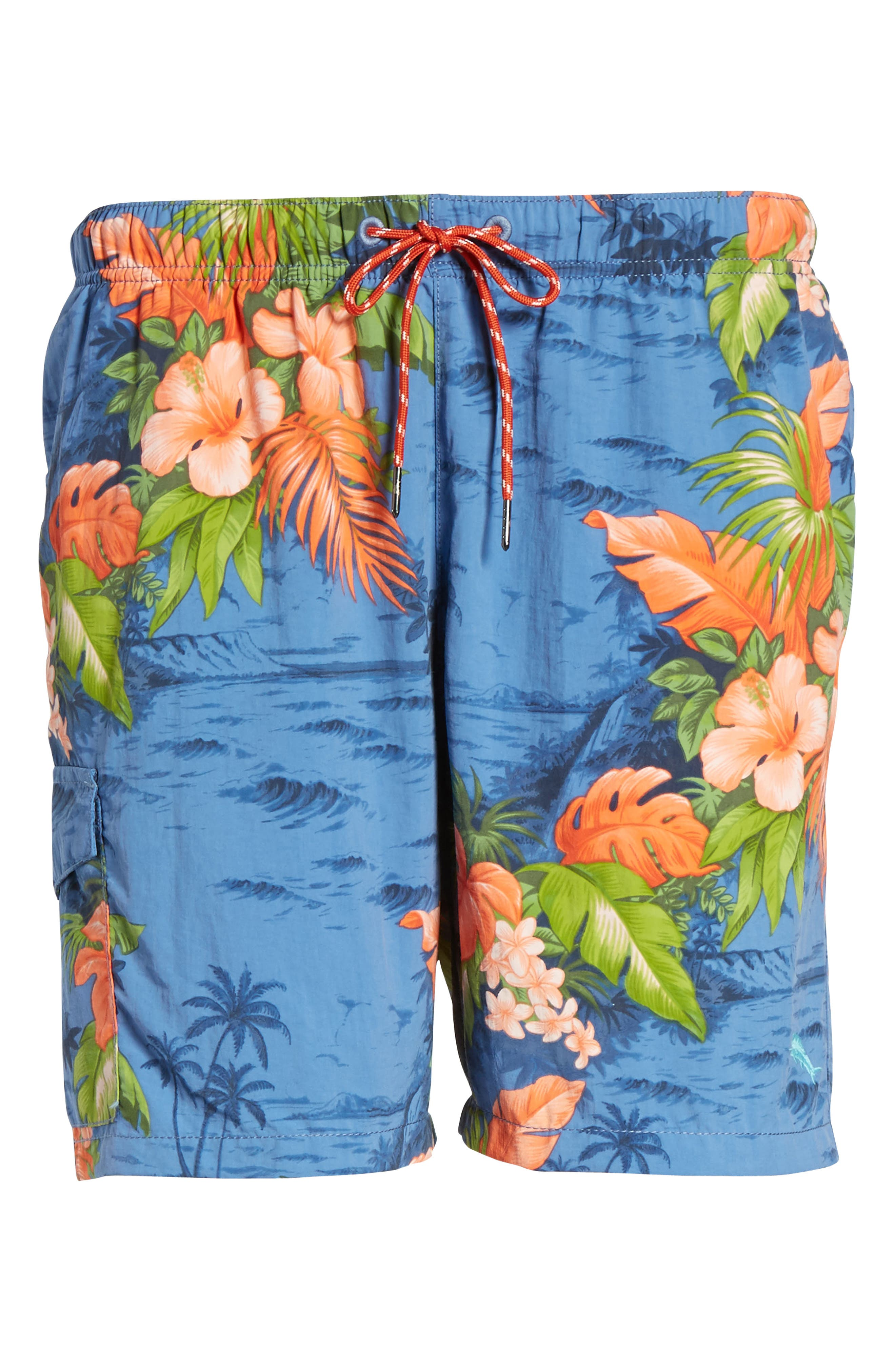 Naples Fiji Ferns Swim Trunks,                             Alternate thumbnail 6, color,                             Dockside Blue