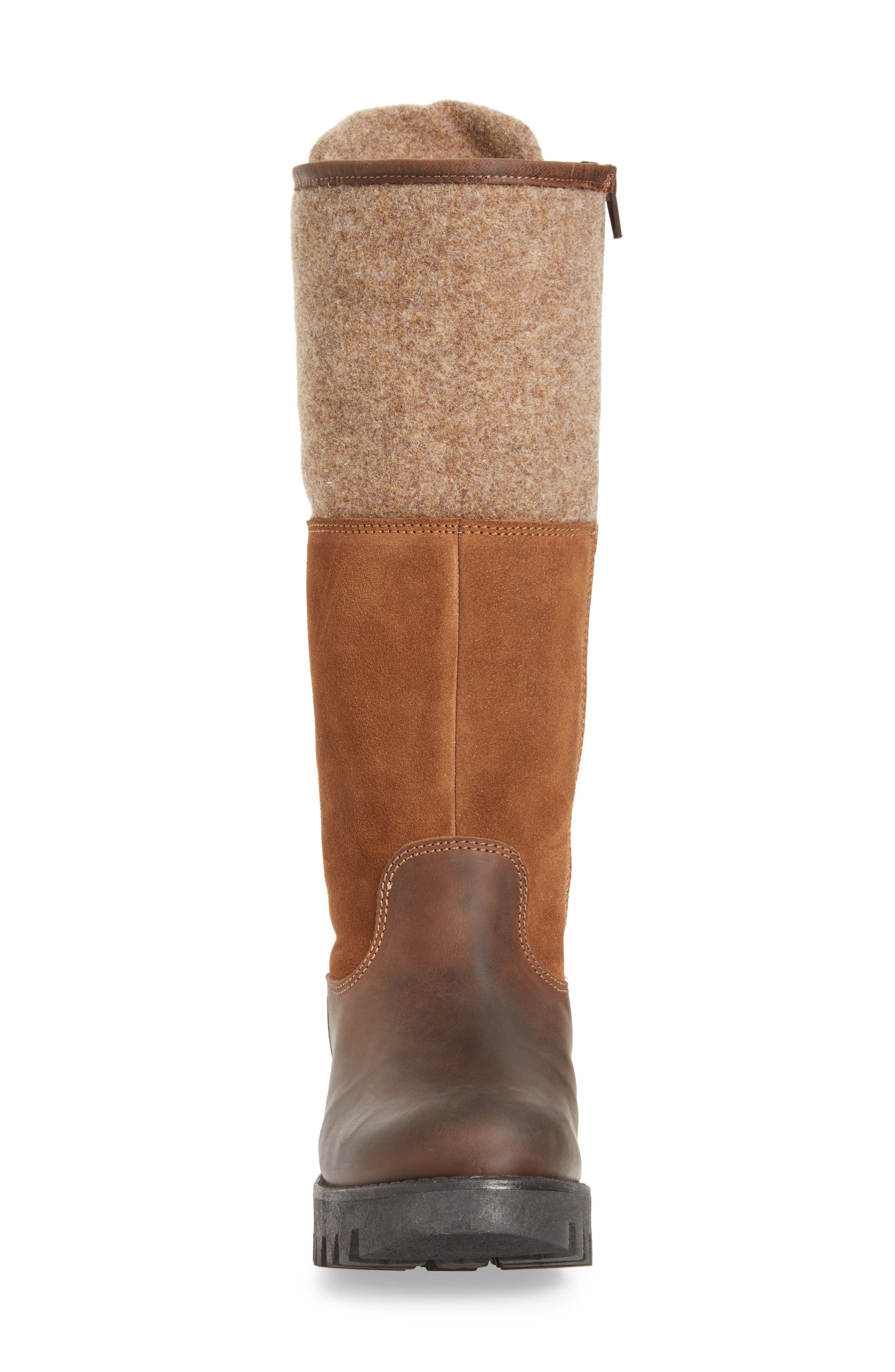 'Ginger' Waterproof Mid Calf Platform Boot,                             Alternate thumbnail 4, color,                             Expresso/ Beige
