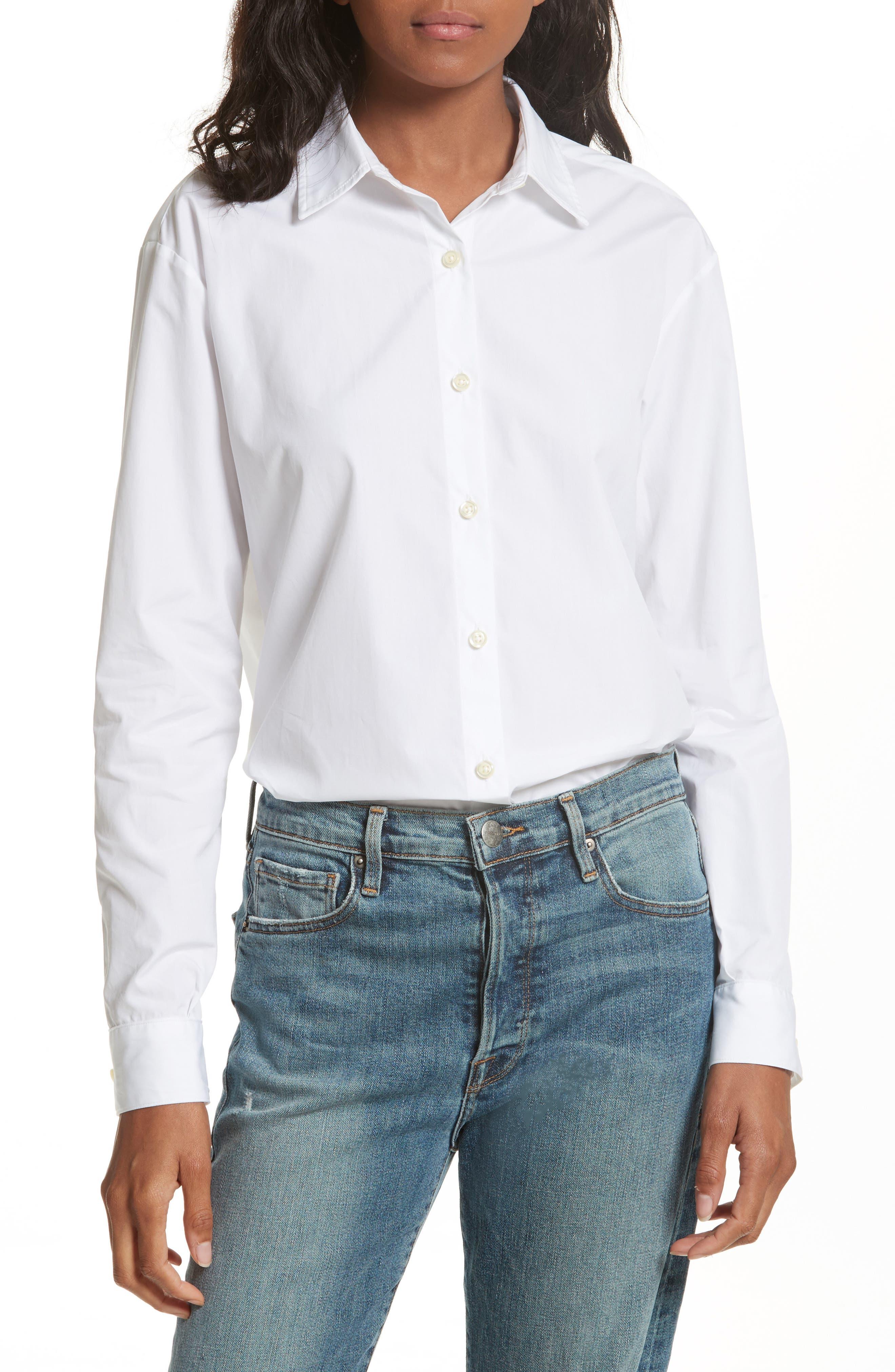 The Hutton Cotton Poplin Shirt,                         Main,                         color, White