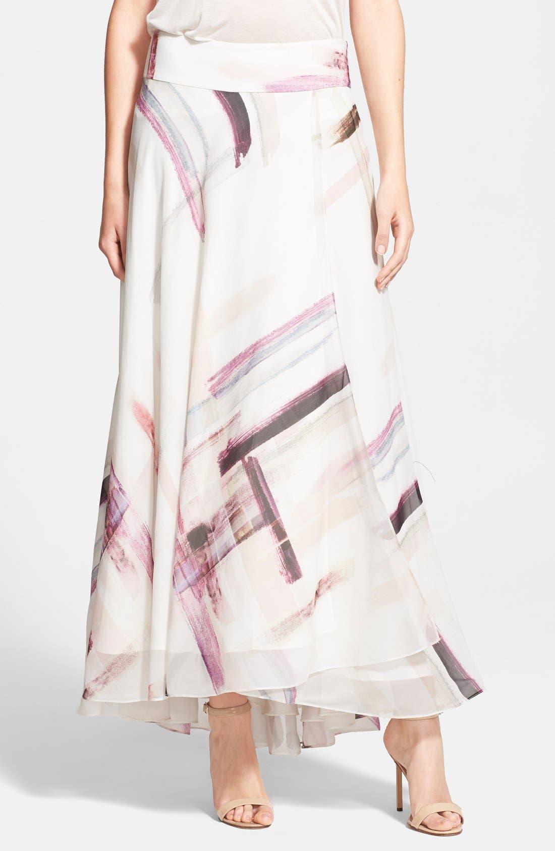 Alternate Image 1 Selected - Haute Hippie Print Silk Maxi Skirt