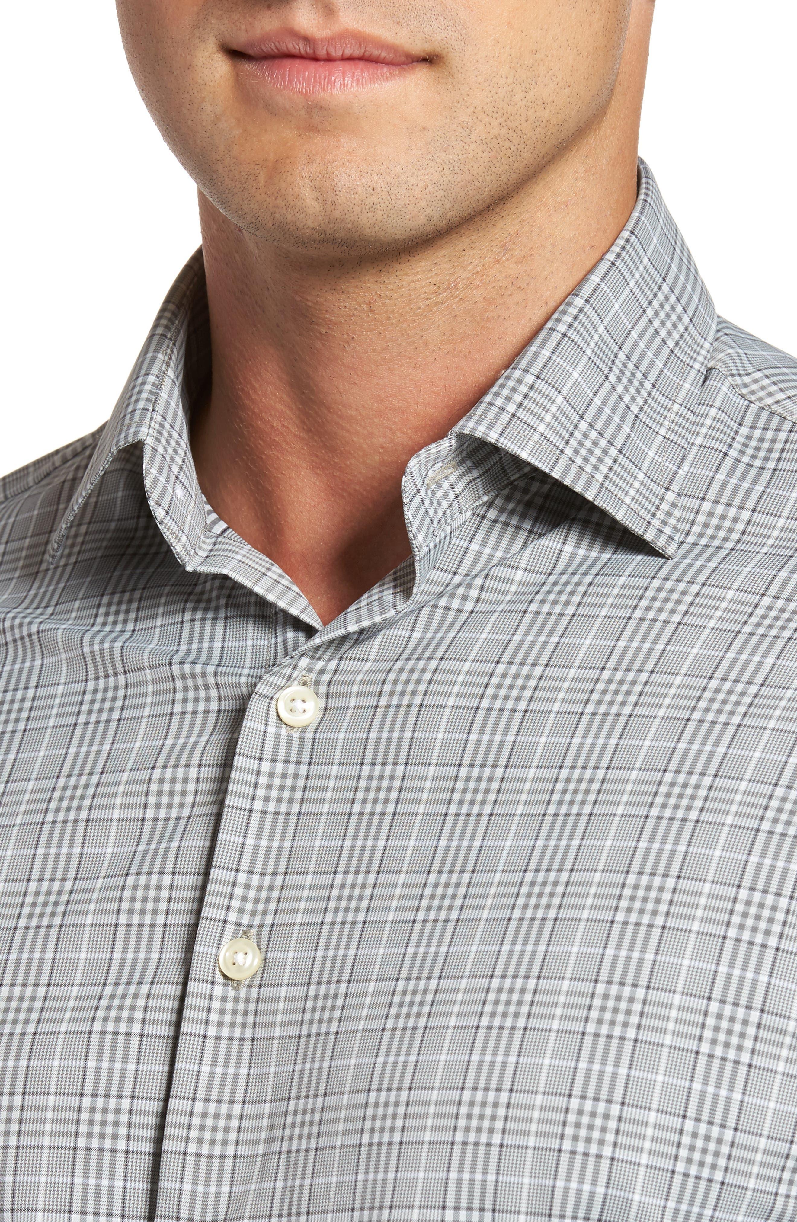 Vedder Gingham Regular Fit Performance Sport Shirt,                             Alternate thumbnail 4, color,                             Smoke