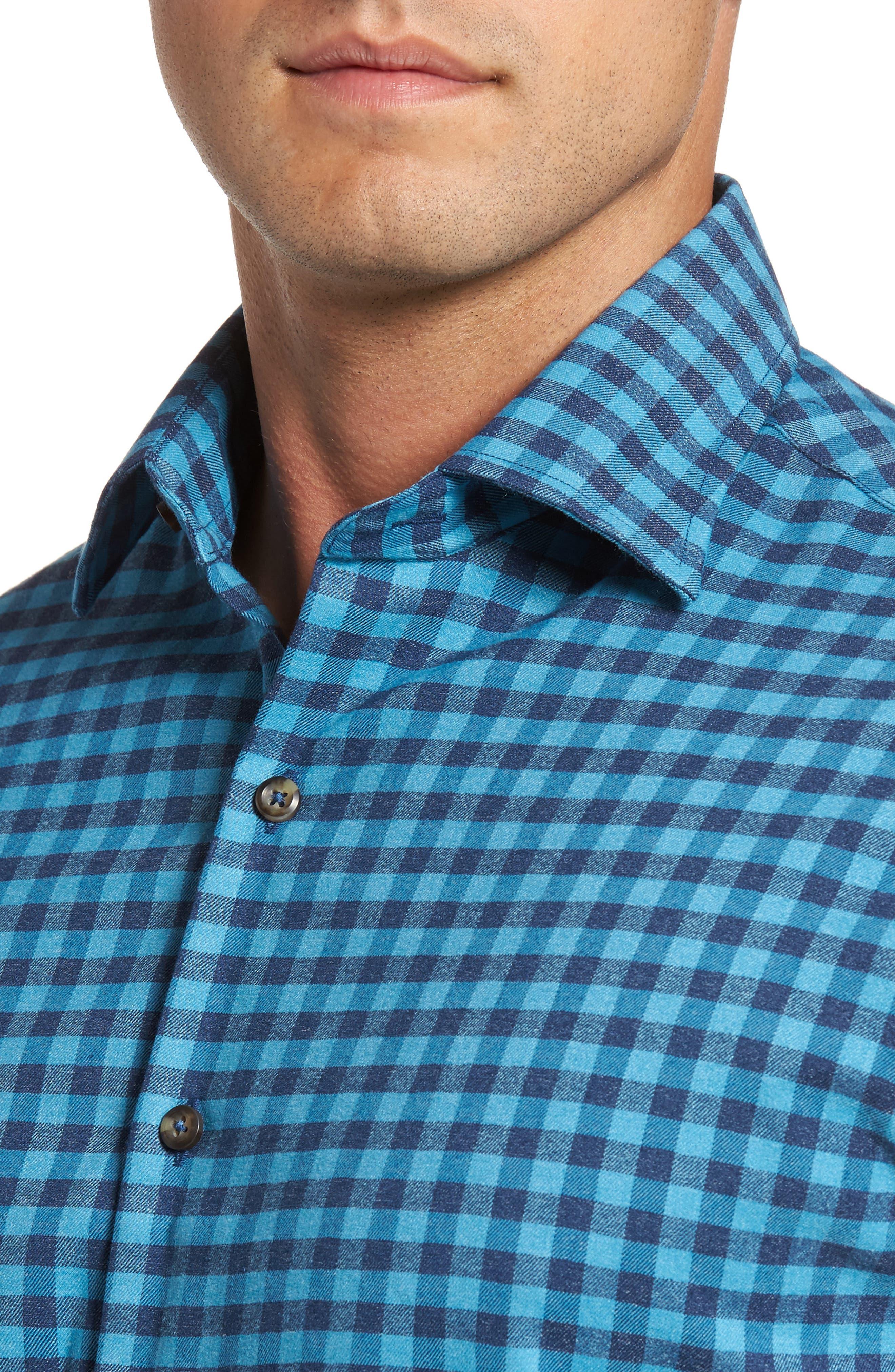 Vedder Gingham Regular Fit Performance Sport Shirt,                             Alternate thumbnail 4, color,                             Midnight