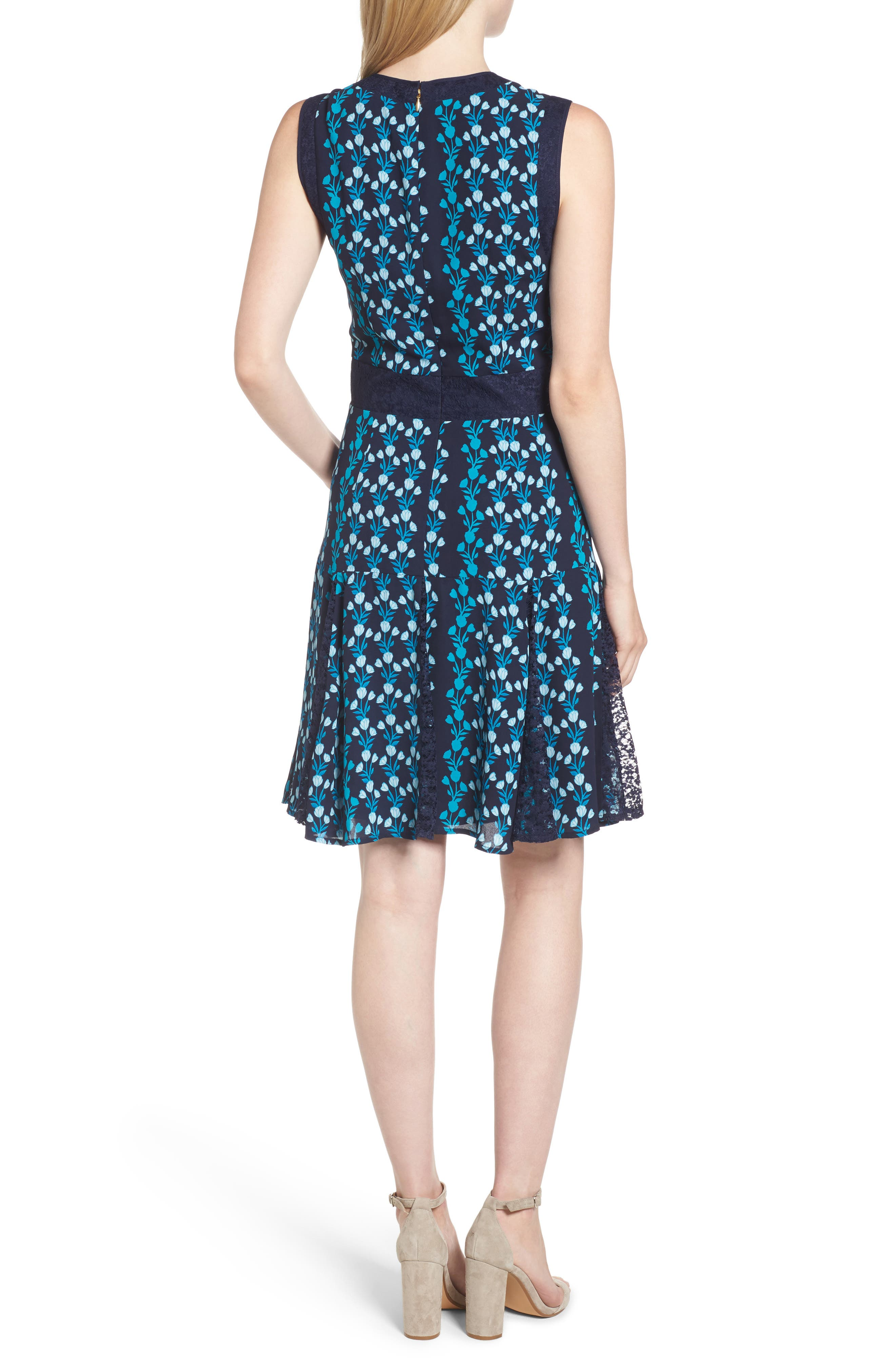 Meadow Vines Lace Dress,                             Alternate thumbnail 2, color,                             Nassau Navy Multi