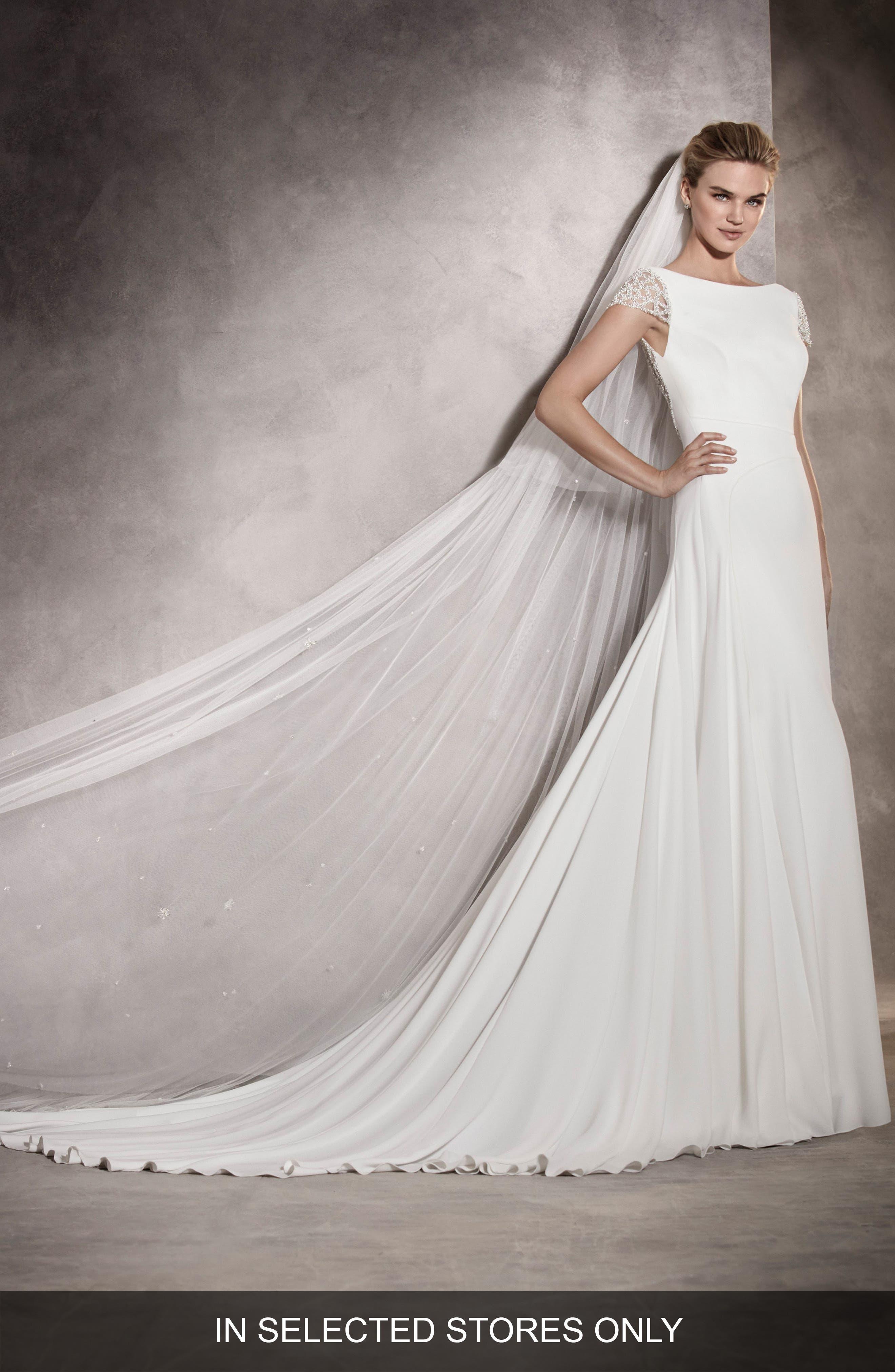 Main Image - Pronovias Ana Embellished Cap Sleeve A-Line Gown