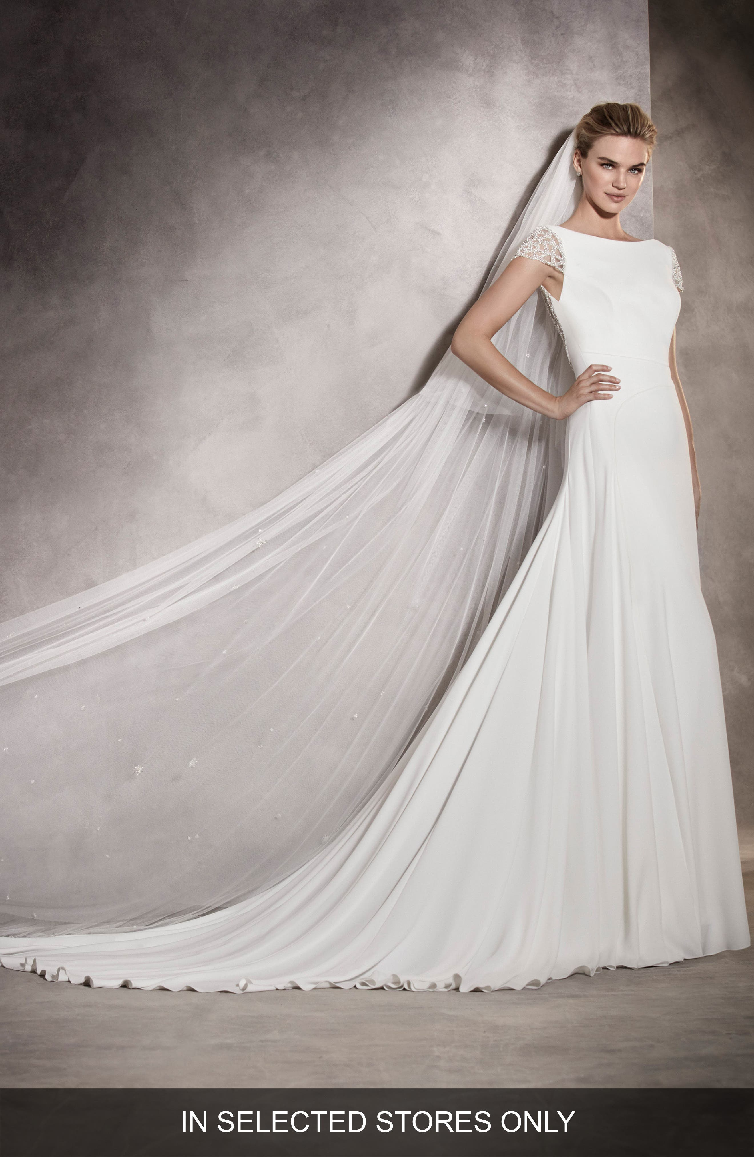 Ana Embellished Cap Sleeve A-Line Gown,                         Main,                         color, Off White