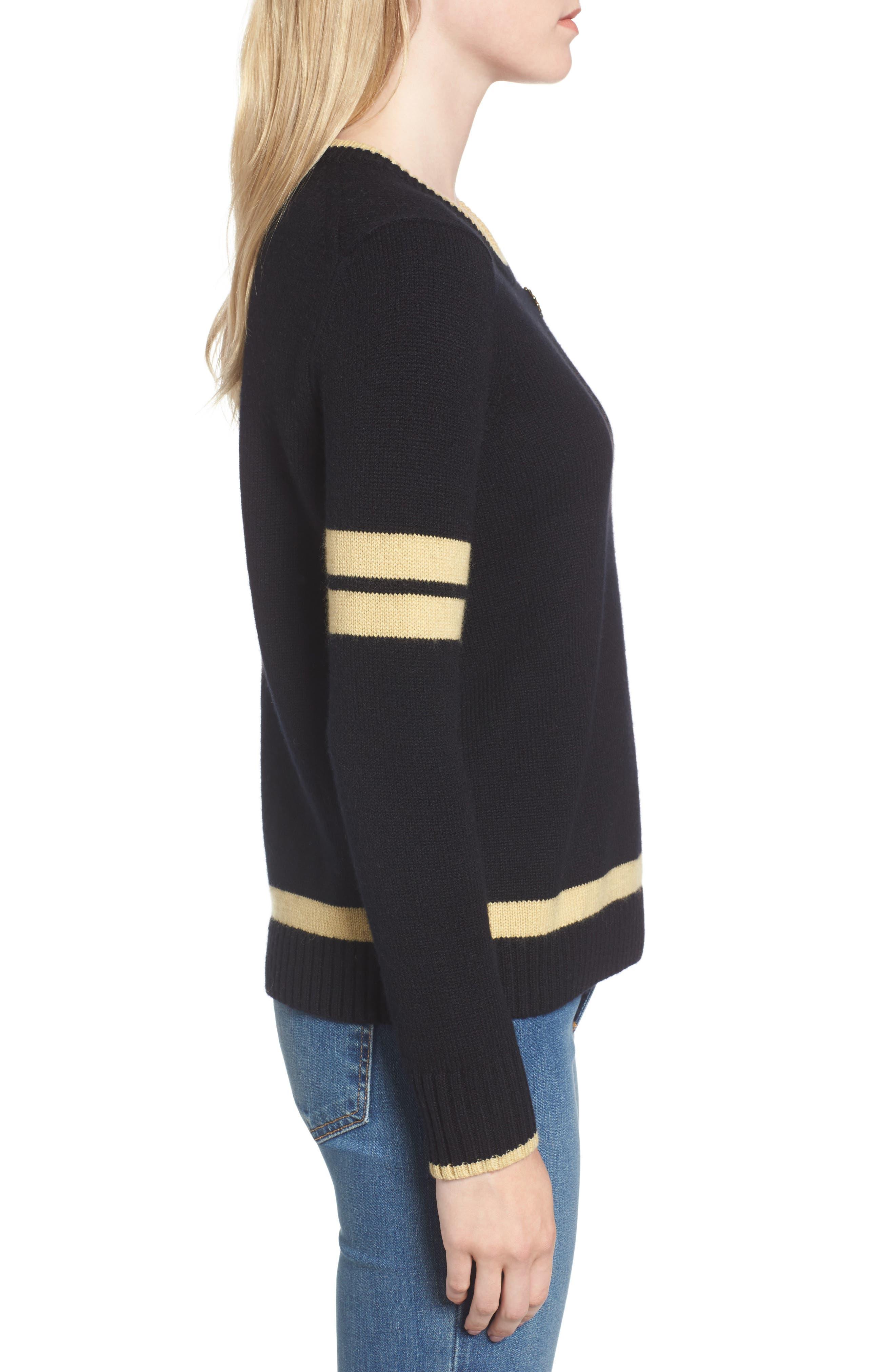 Spirit Sweater,                             Alternate thumbnail 3, color,                             Black/ Gold