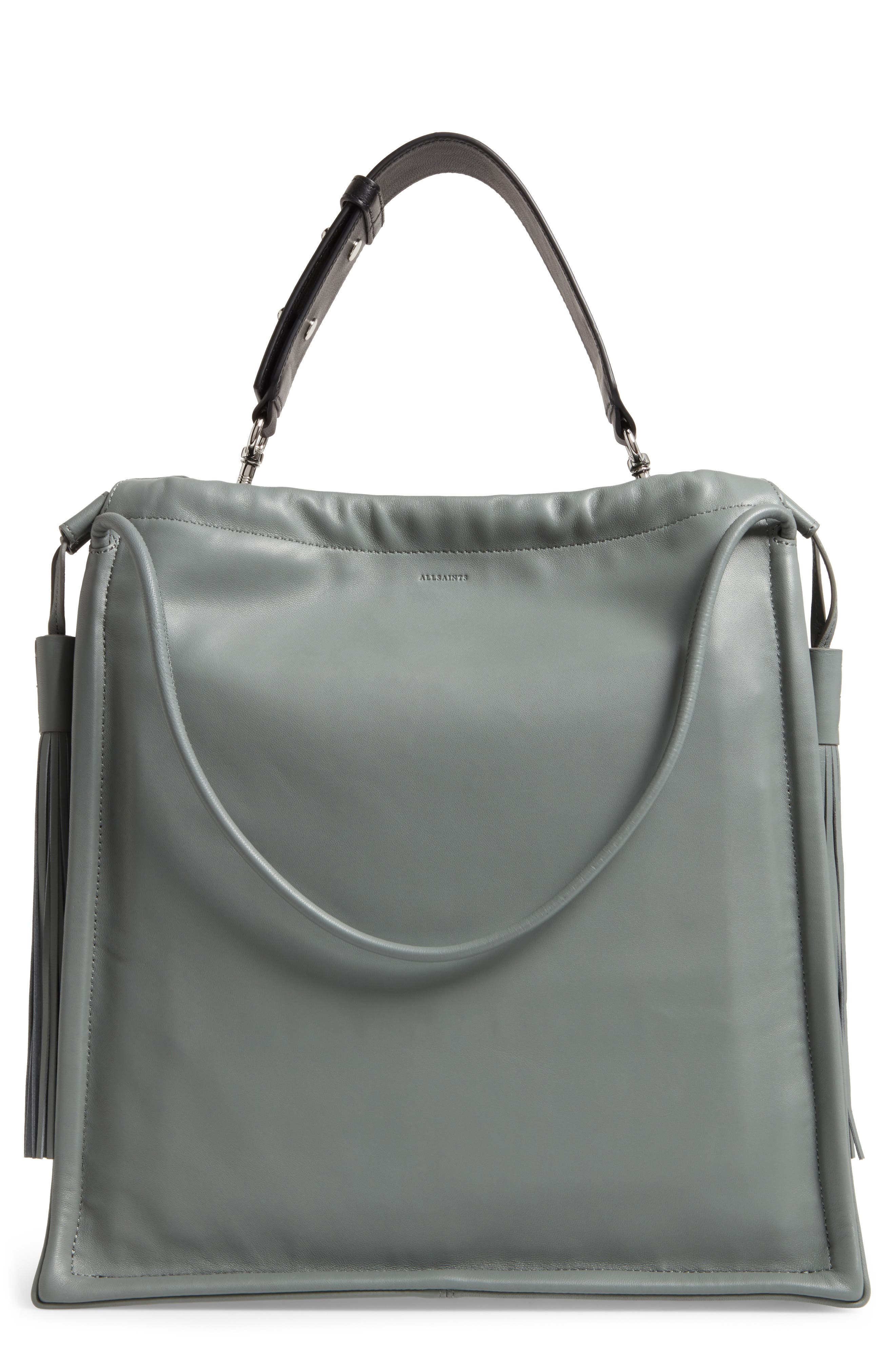 Dive Lambskin Leather Tote,                         Main,                         color, Light Slate Blue