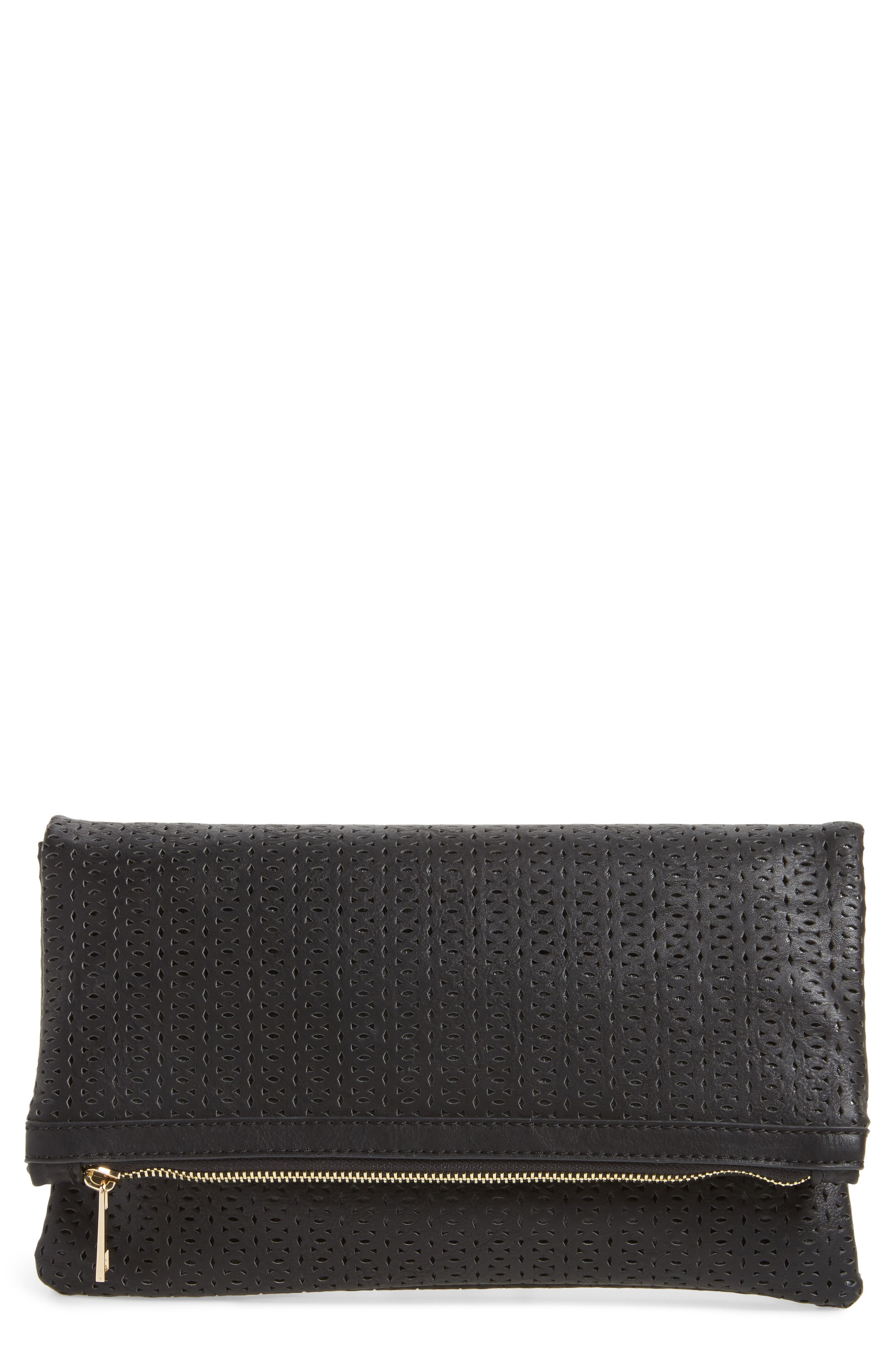 Perforated Fold Over Clutch,                         Main,                         color, Black