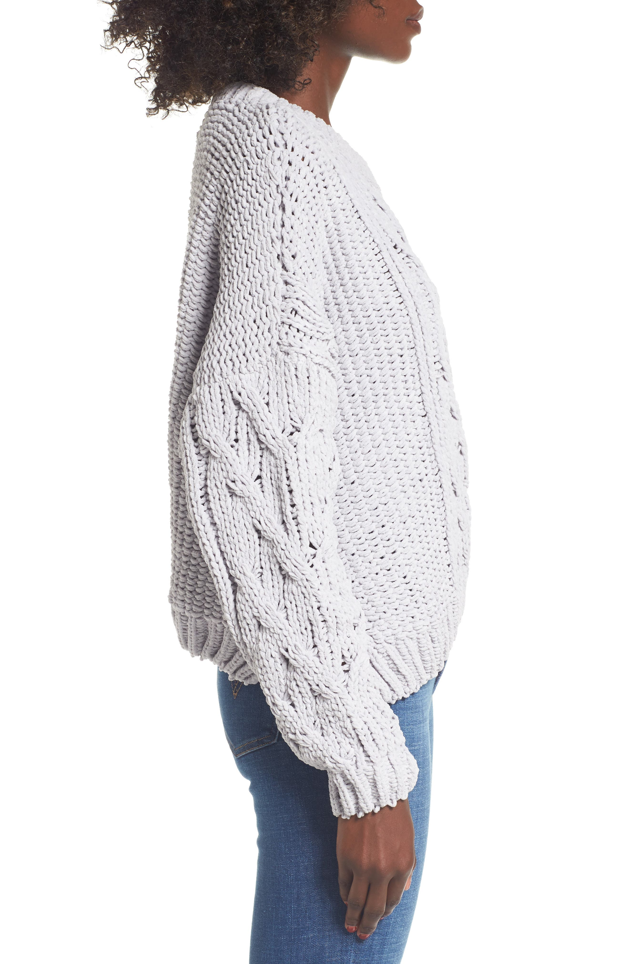 Cozy Crewneck Sweater,                             Alternate thumbnail 3, color,                             Light Grey