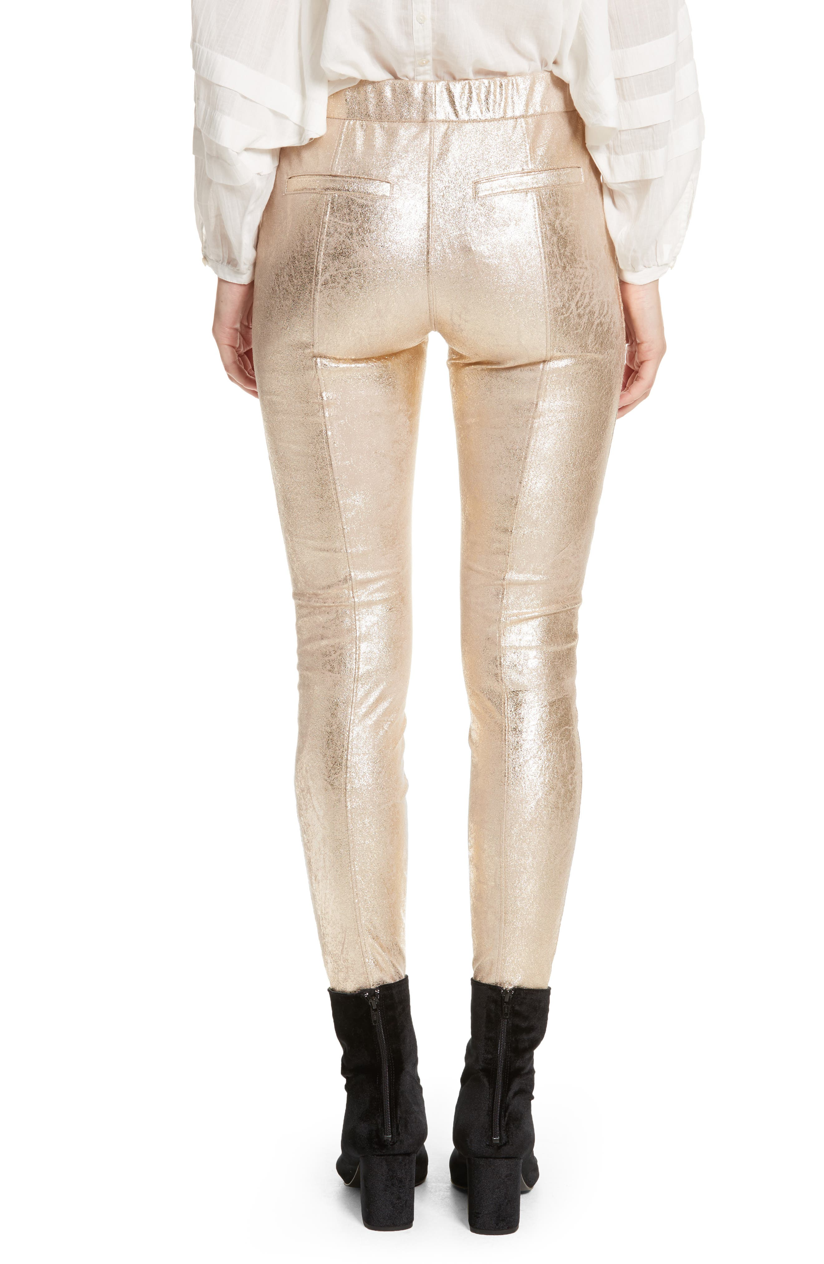 Faux Leather Leggings,                             Alternate thumbnail 2, color,                             Gold