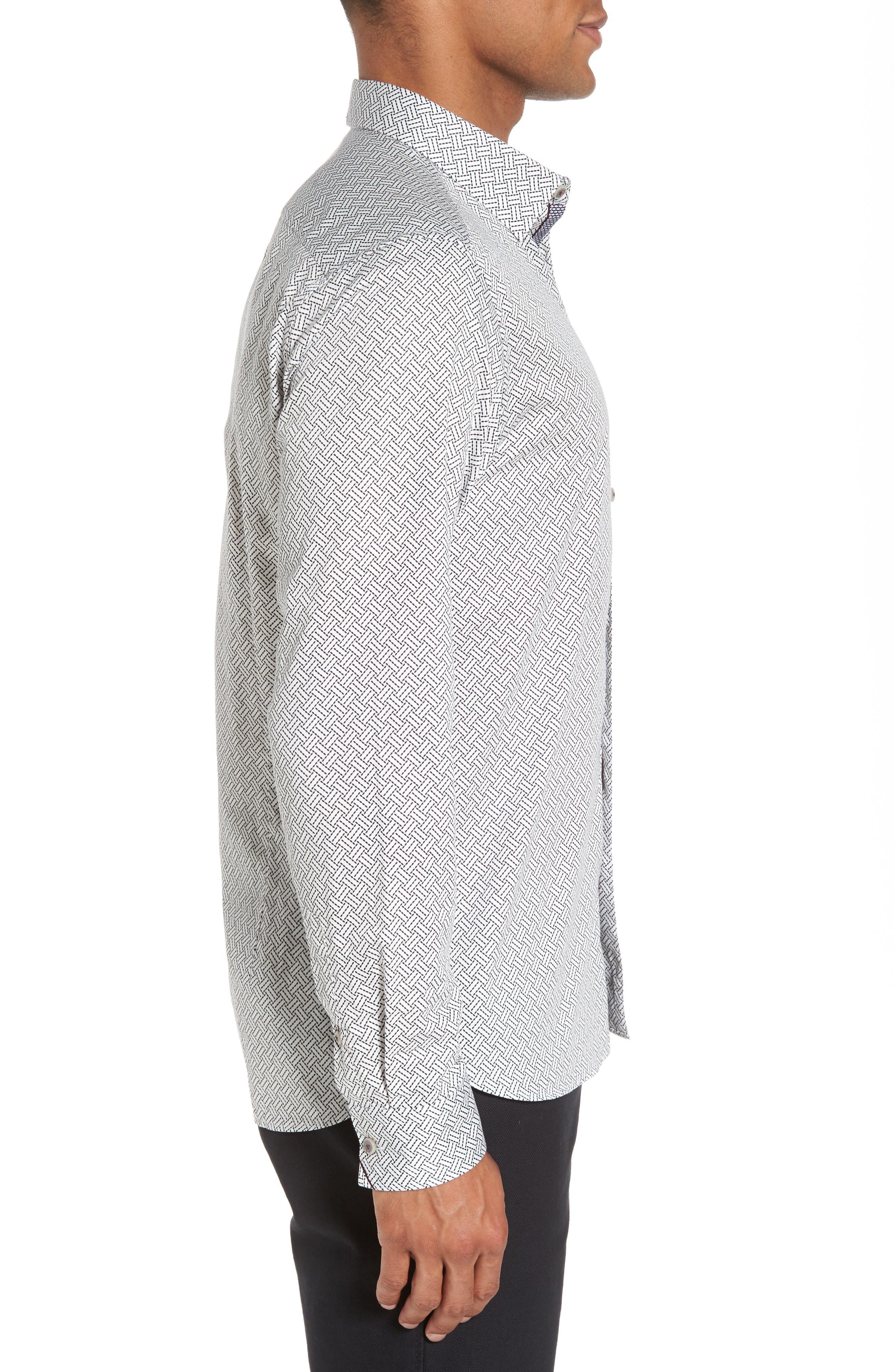 Larosh Slim Fit Basket Weave Print Sport Shirt,                             Alternate thumbnail 4, color,                             White