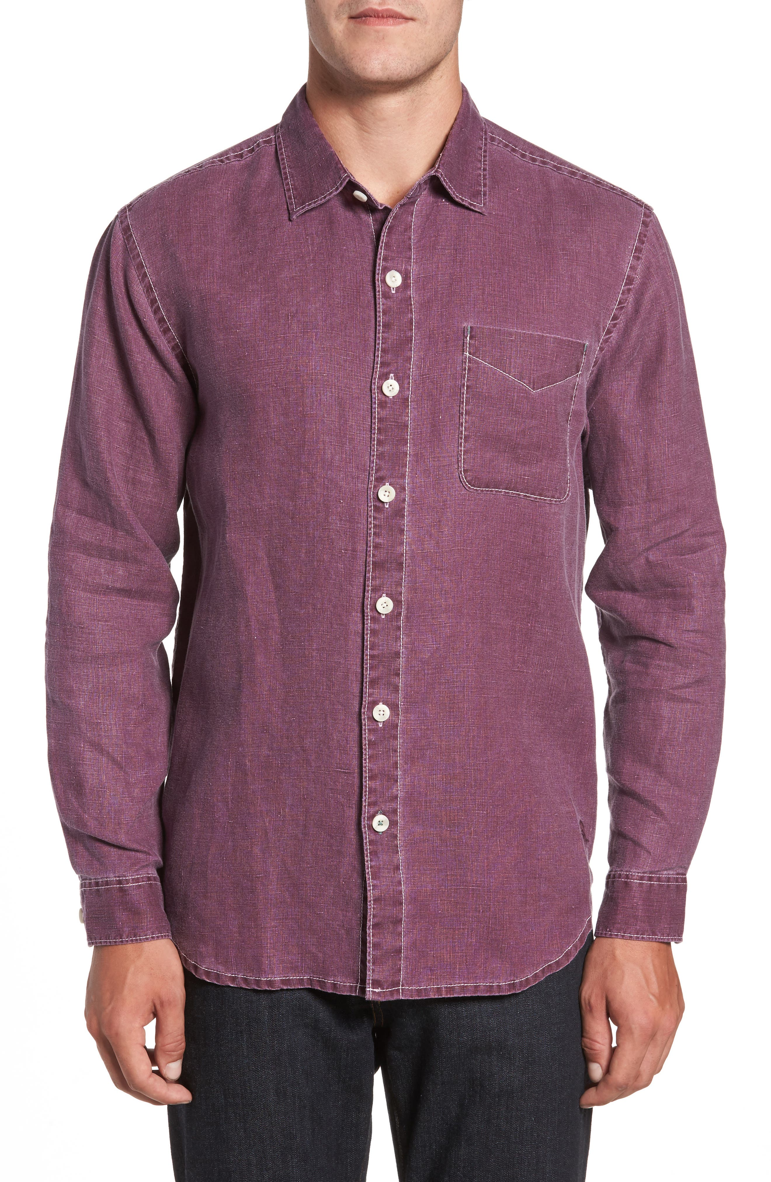 Sea Glass Breezer Linen Sport Shirt,                             Main thumbnail 1, color,                             Grape Wine