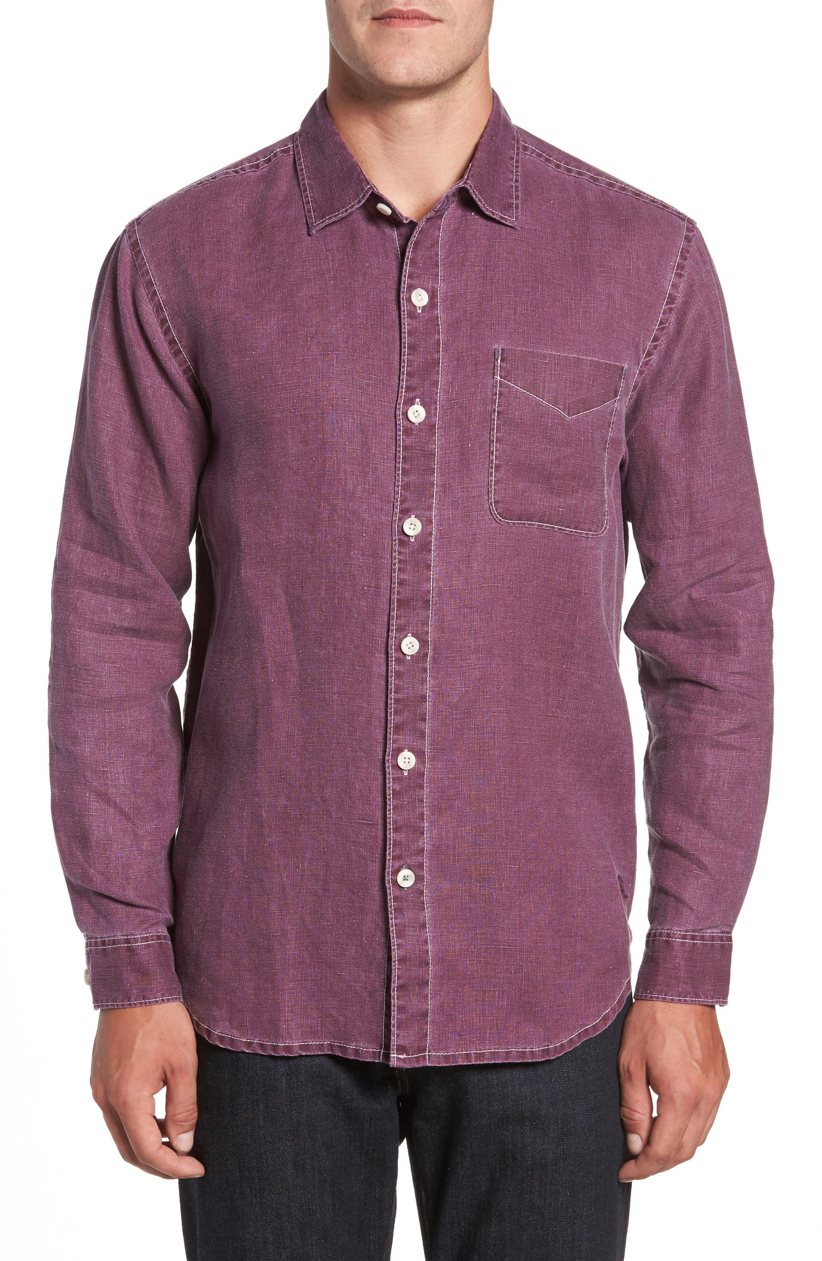 Sea Glass Breezer Linen Sport Shirt,                         Main,                         color, Grape Wine