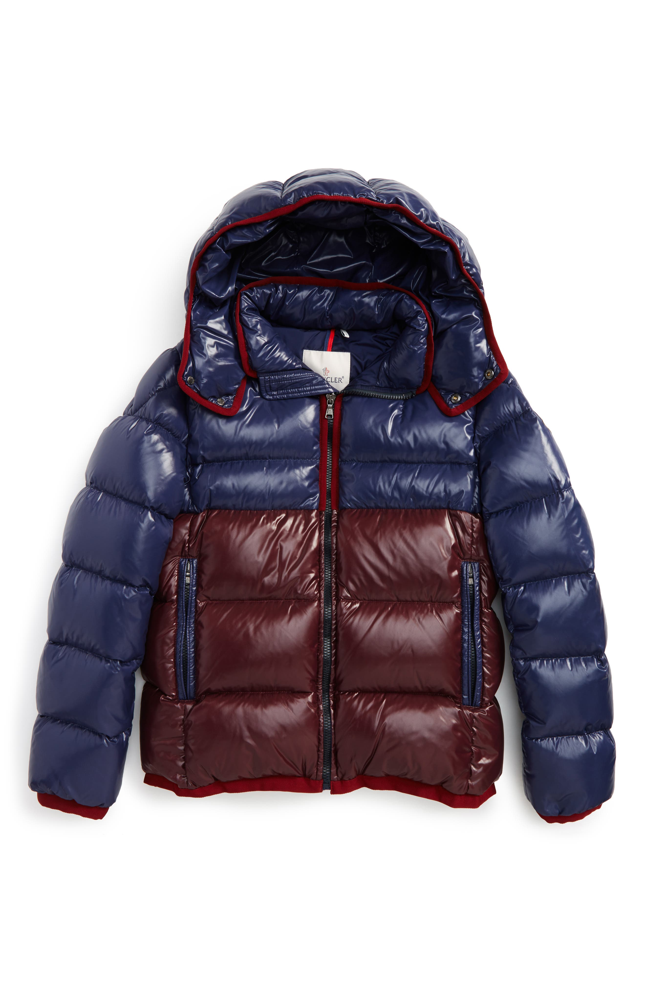 Main Image - Moncler Harry Two-Tone Hooded Down Jacket (Little Boys & Big Boys)