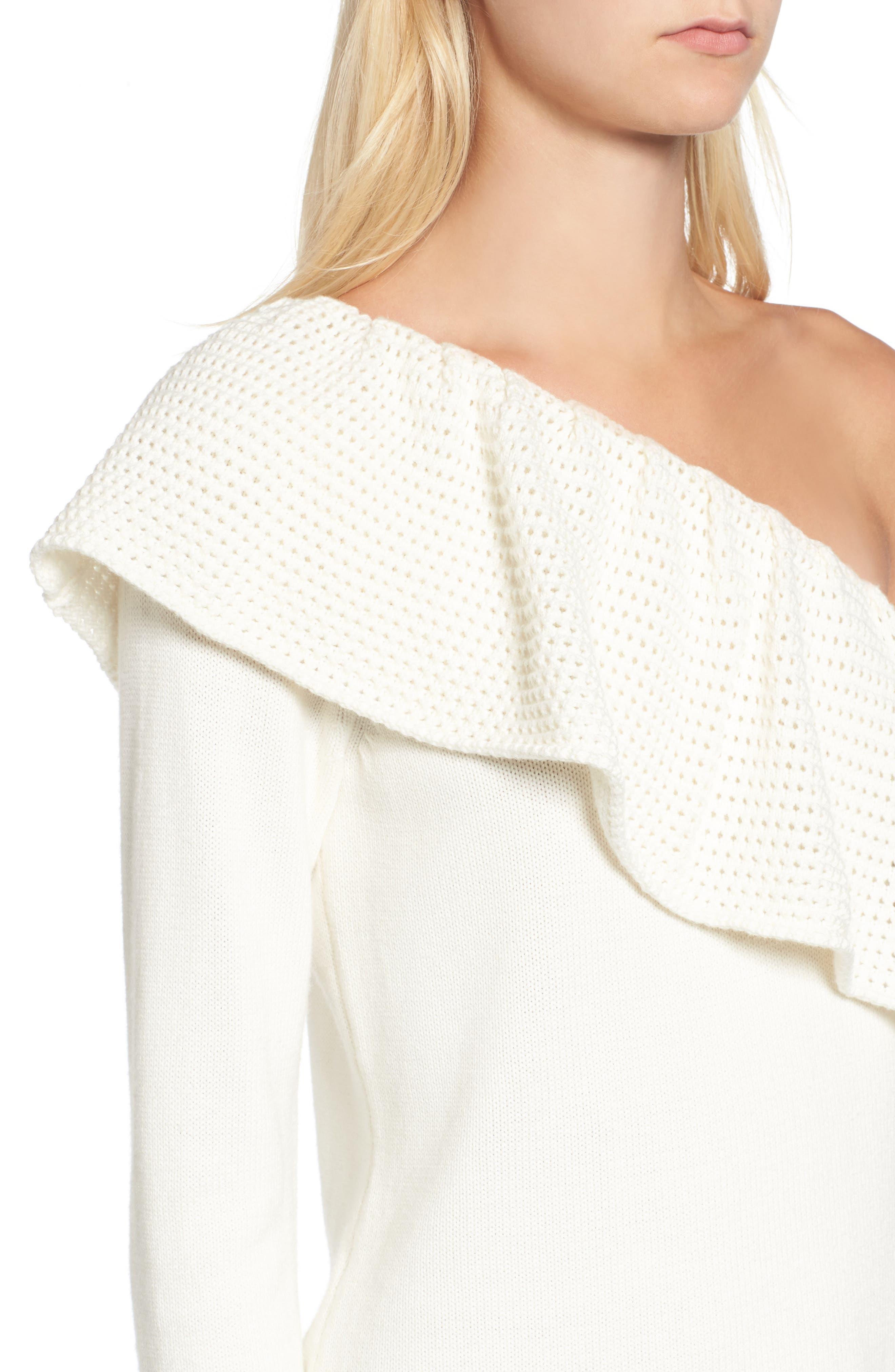 Alternate Image 4  - Ella Moss Ruffle One Shoulder Sweater