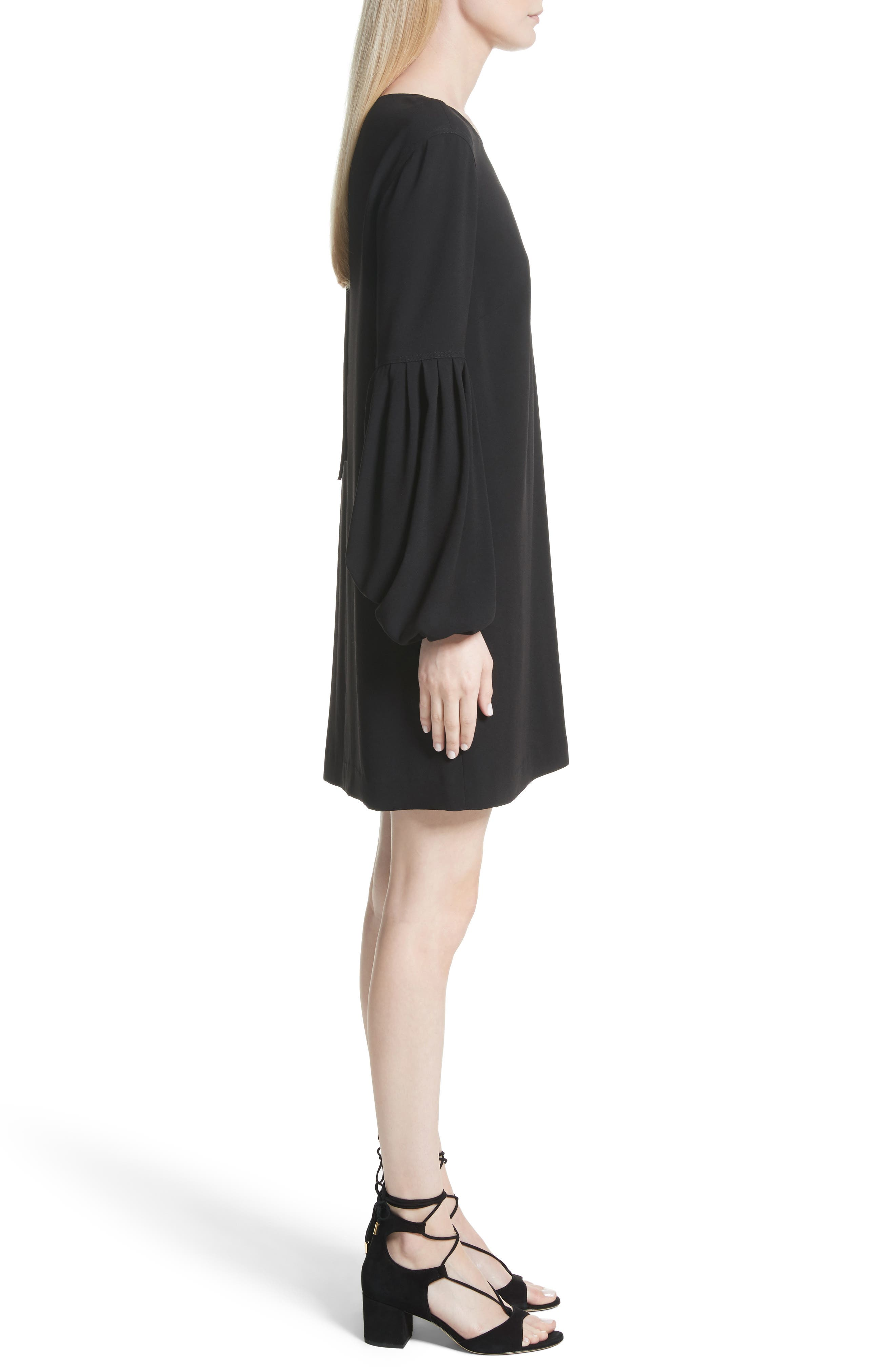 Claudia Puff Sleeve Dress,                             Alternate thumbnail 3, color,                             Black