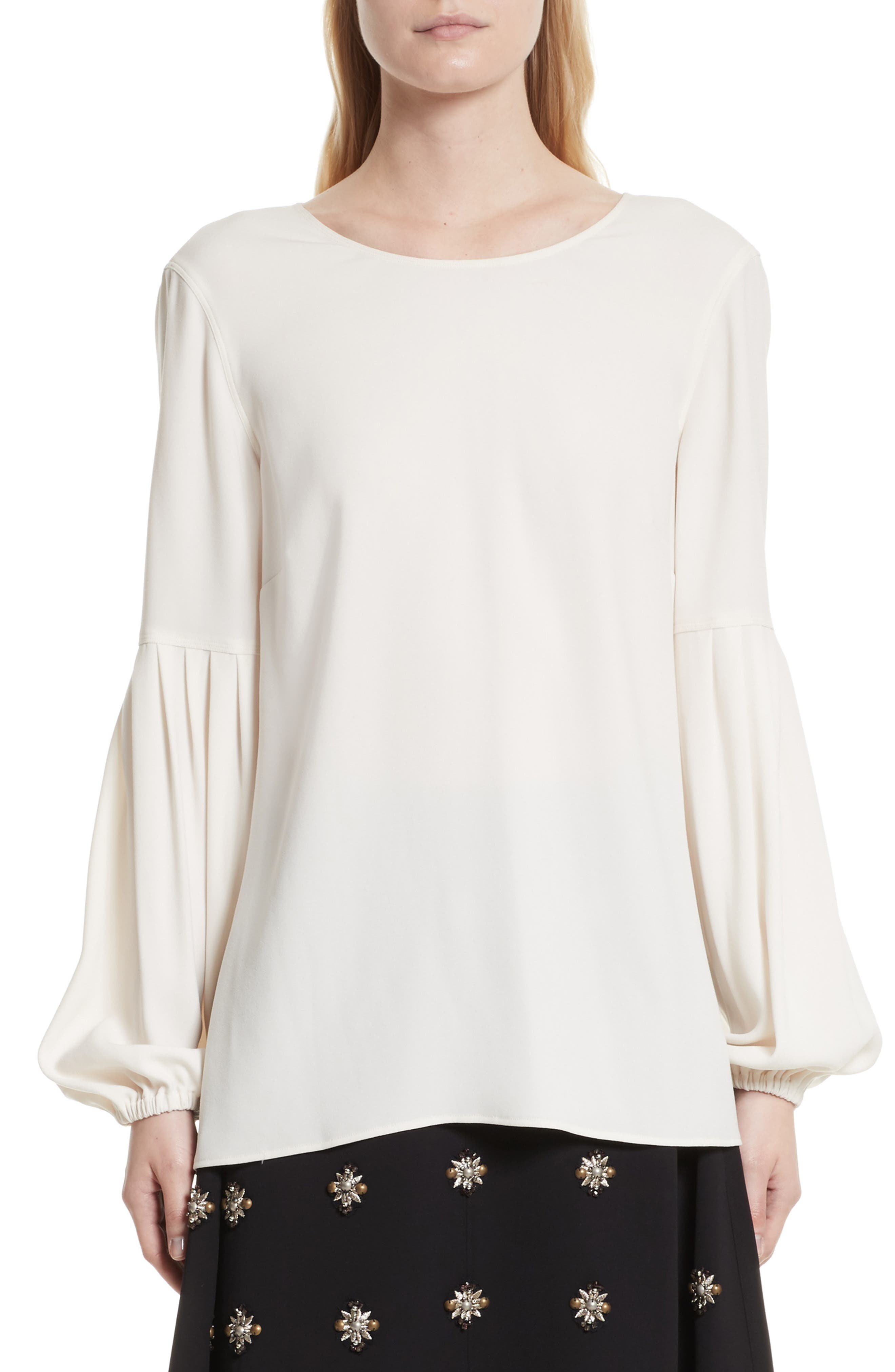 Harriet Puff Sleeve Blouse,                         Main,                         color, Alabaster
