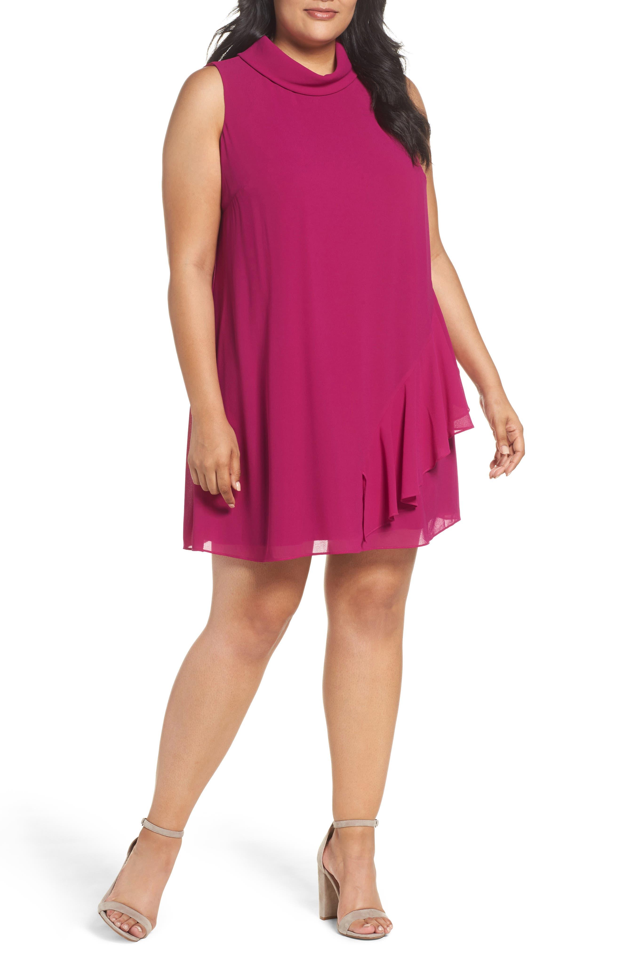 Ruffle Chiffon Shift Dress,                         Main,                         color, Magenta