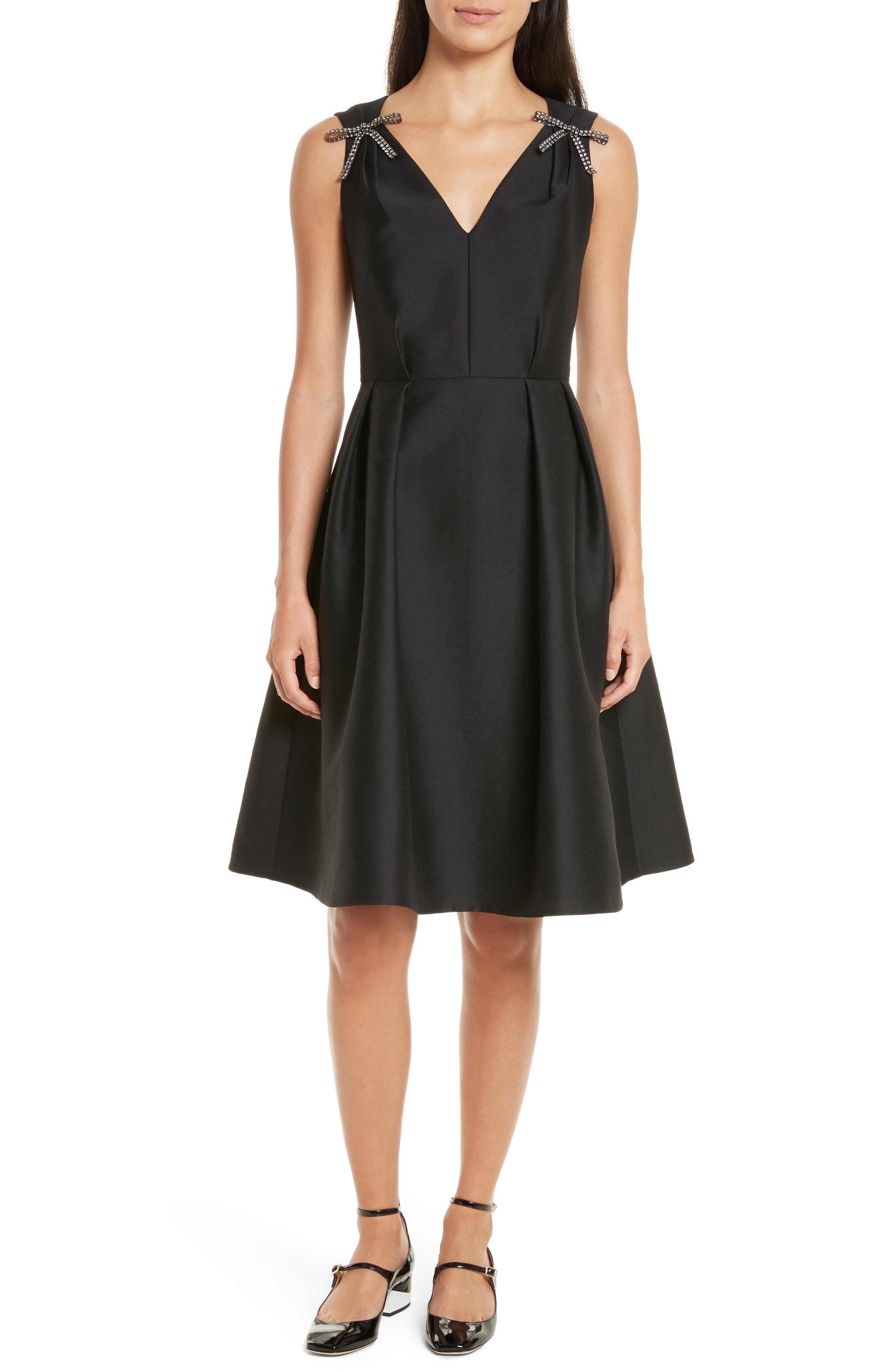 bow embellished fit & flare dress,                             Main thumbnail 1, color,                             Black