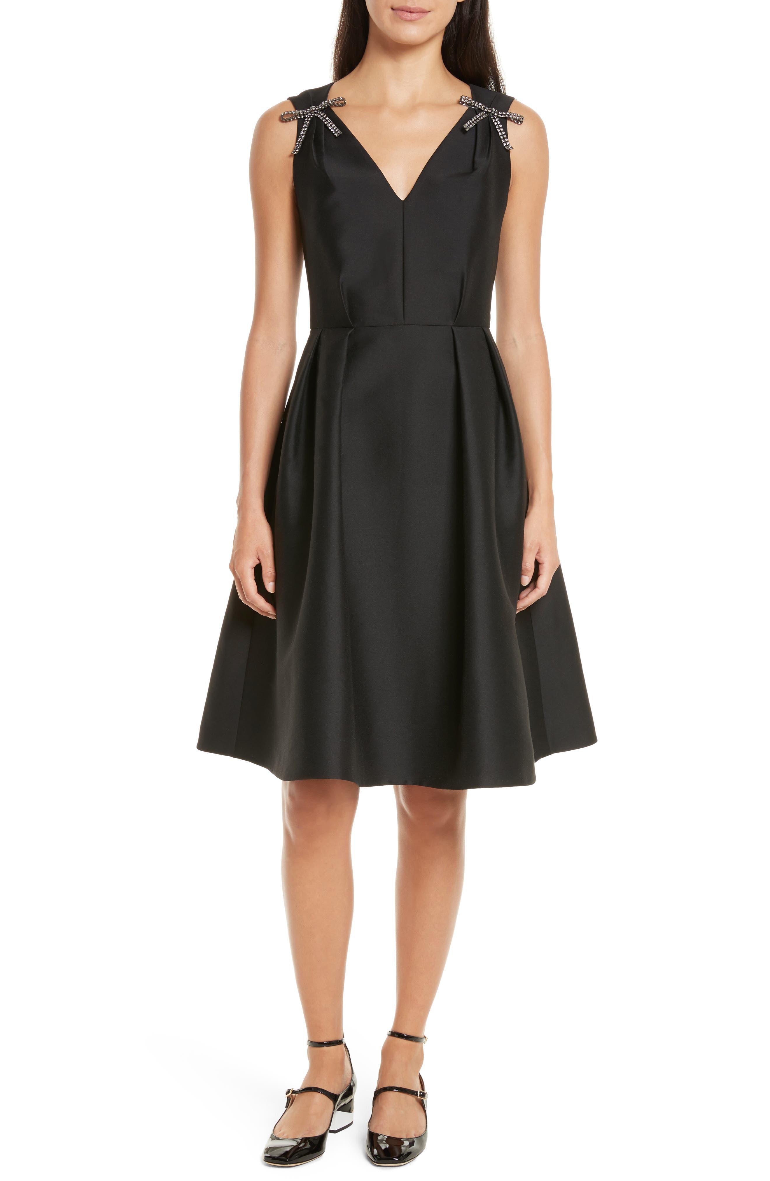 Main Image - kate spade new york bow embellished fit & flare dress