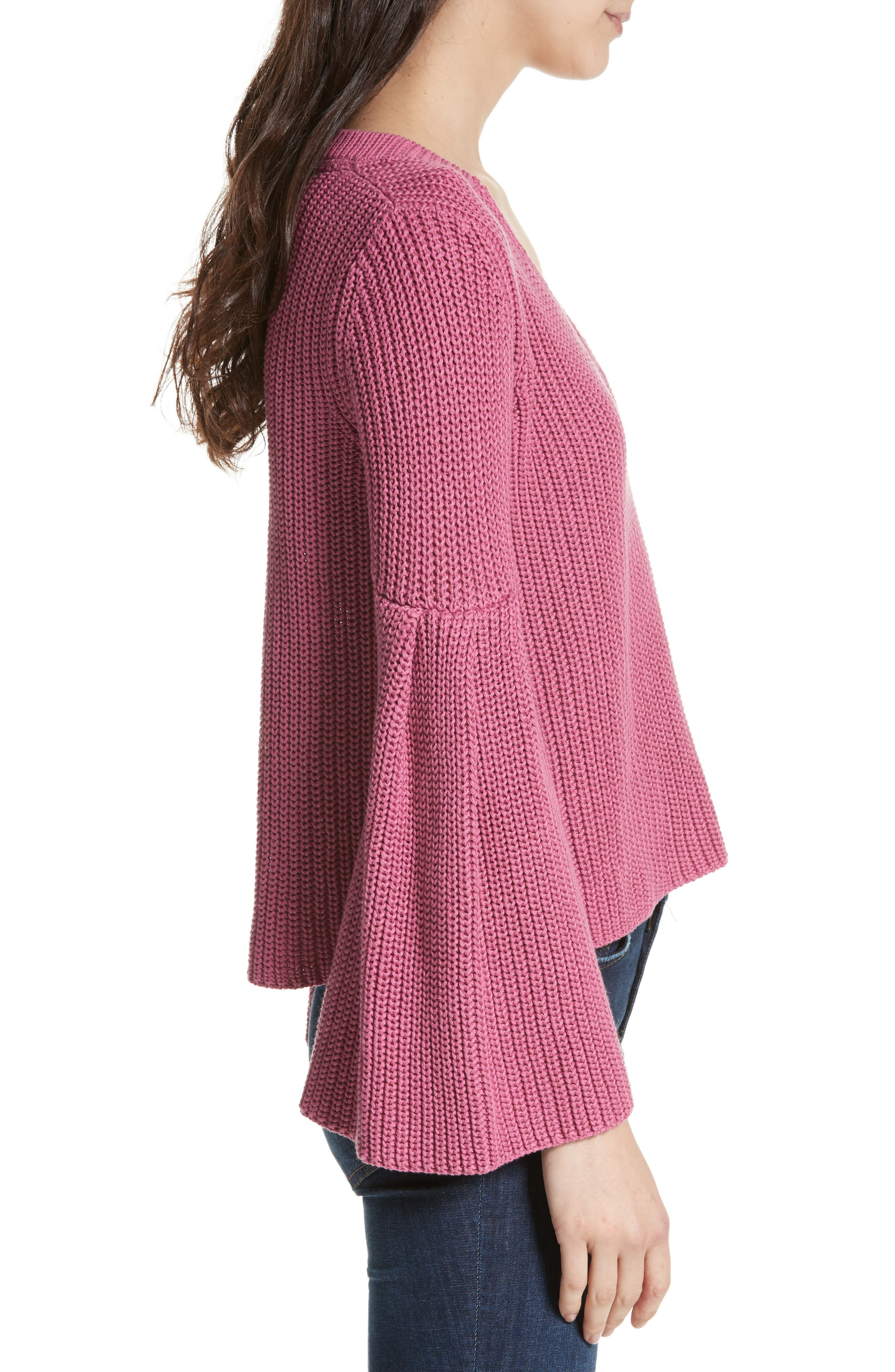 Damsel Bell Sleeve Pullover,                             Alternate thumbnail 3, color,                             Rose