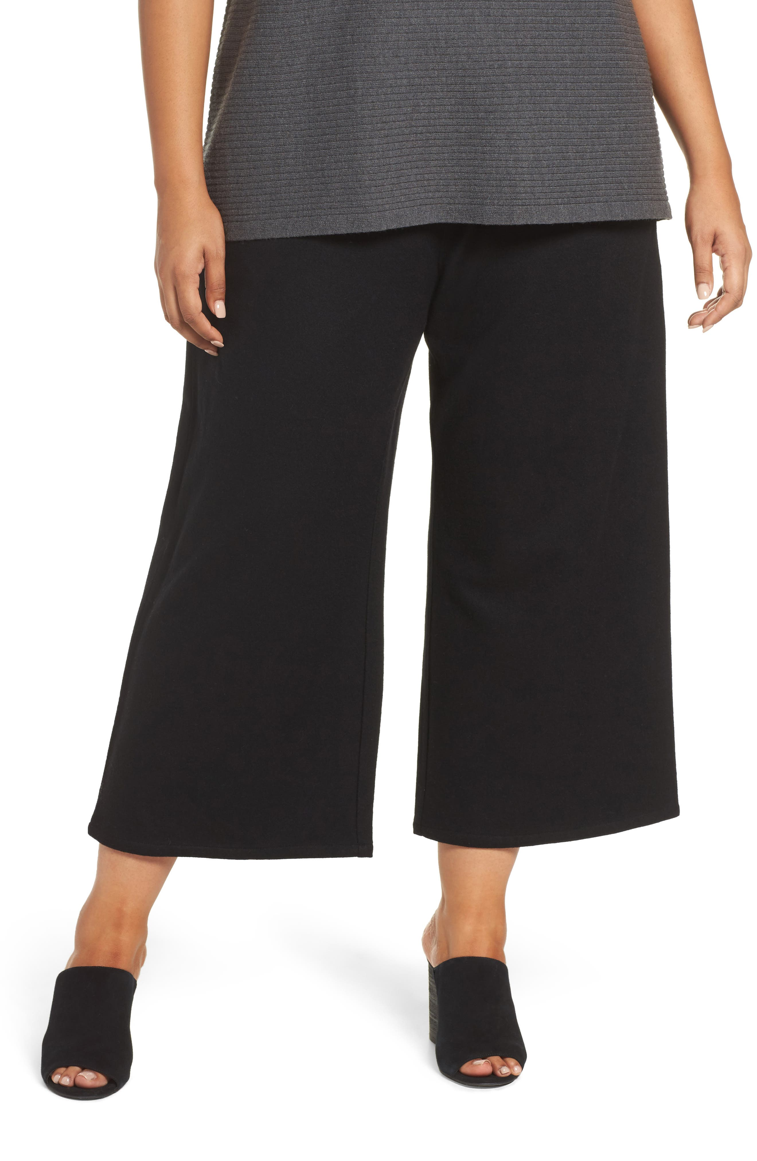 Alternate Image 1 Selected - Eileen Fisher Wide Leg Drawstring Wool Pants (Plus Size)